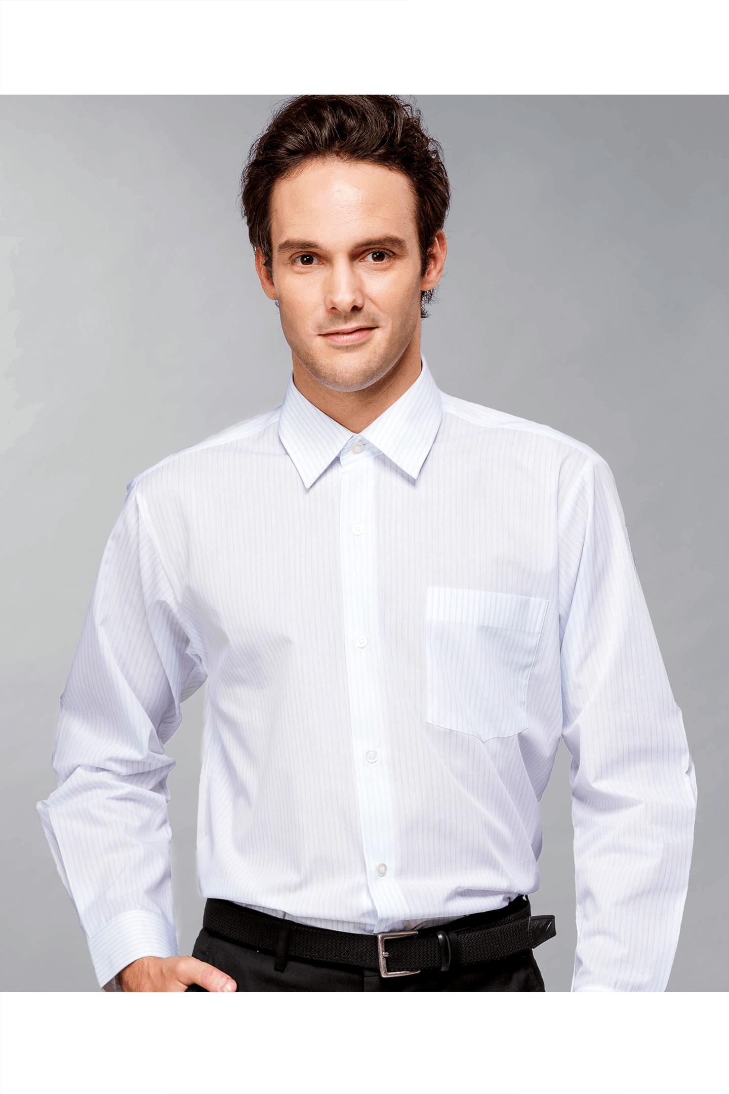 白底藍條棉質長袖襯衫 / 舒適透氣