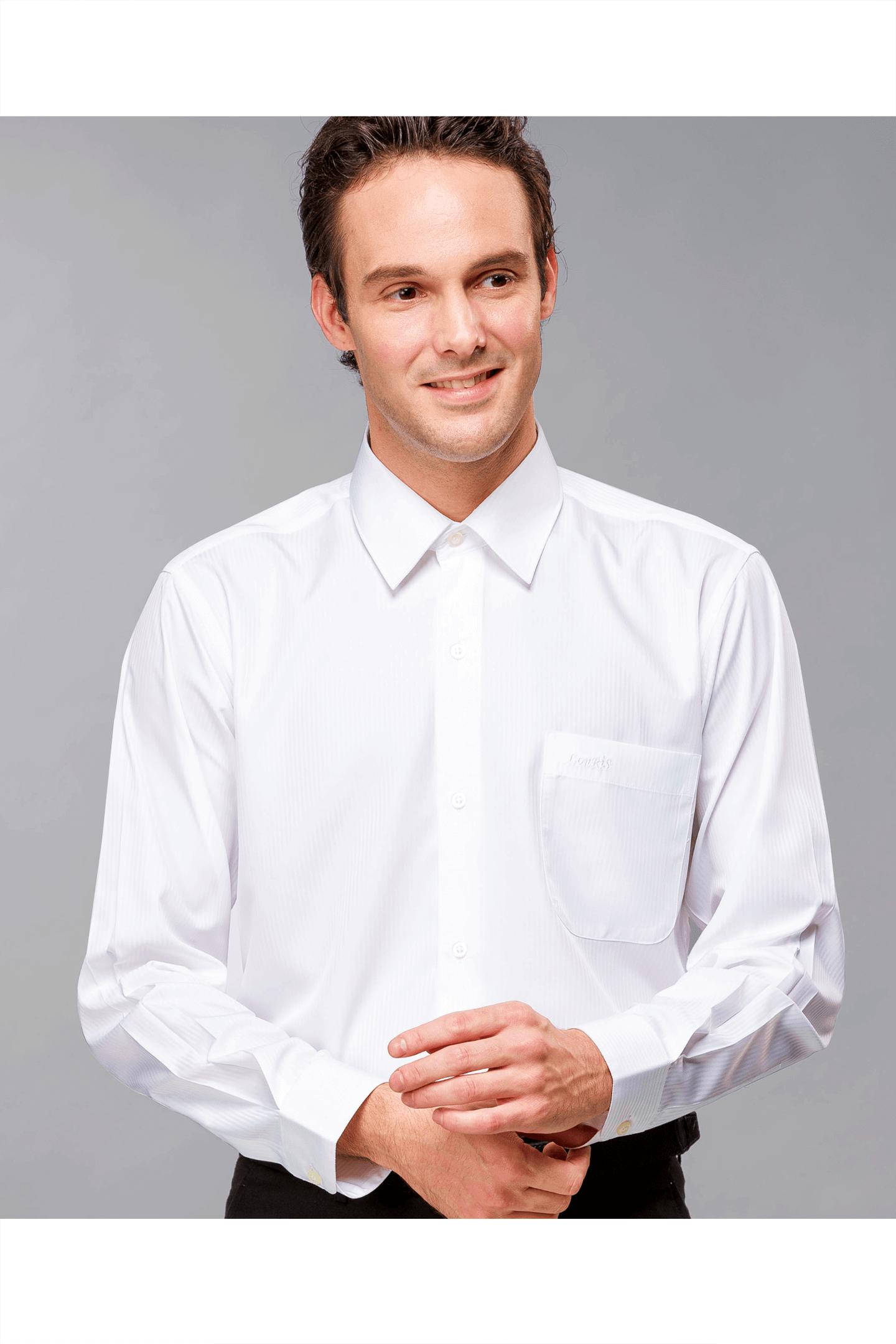 純白直紋提花長袖襯衫/抗皺 吸濕排汗