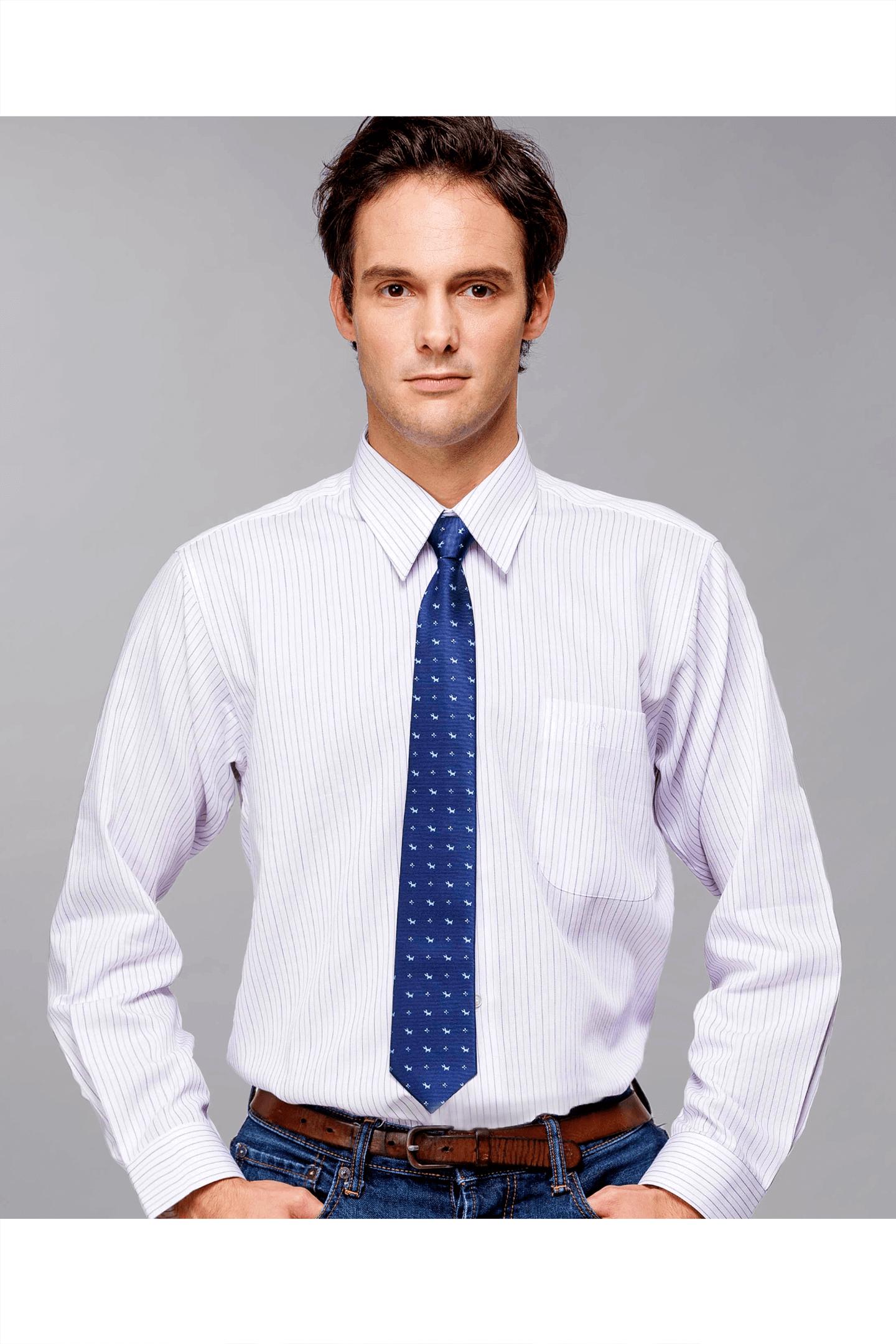藍紫條紋棉質長袖襯衫/舒適透氣