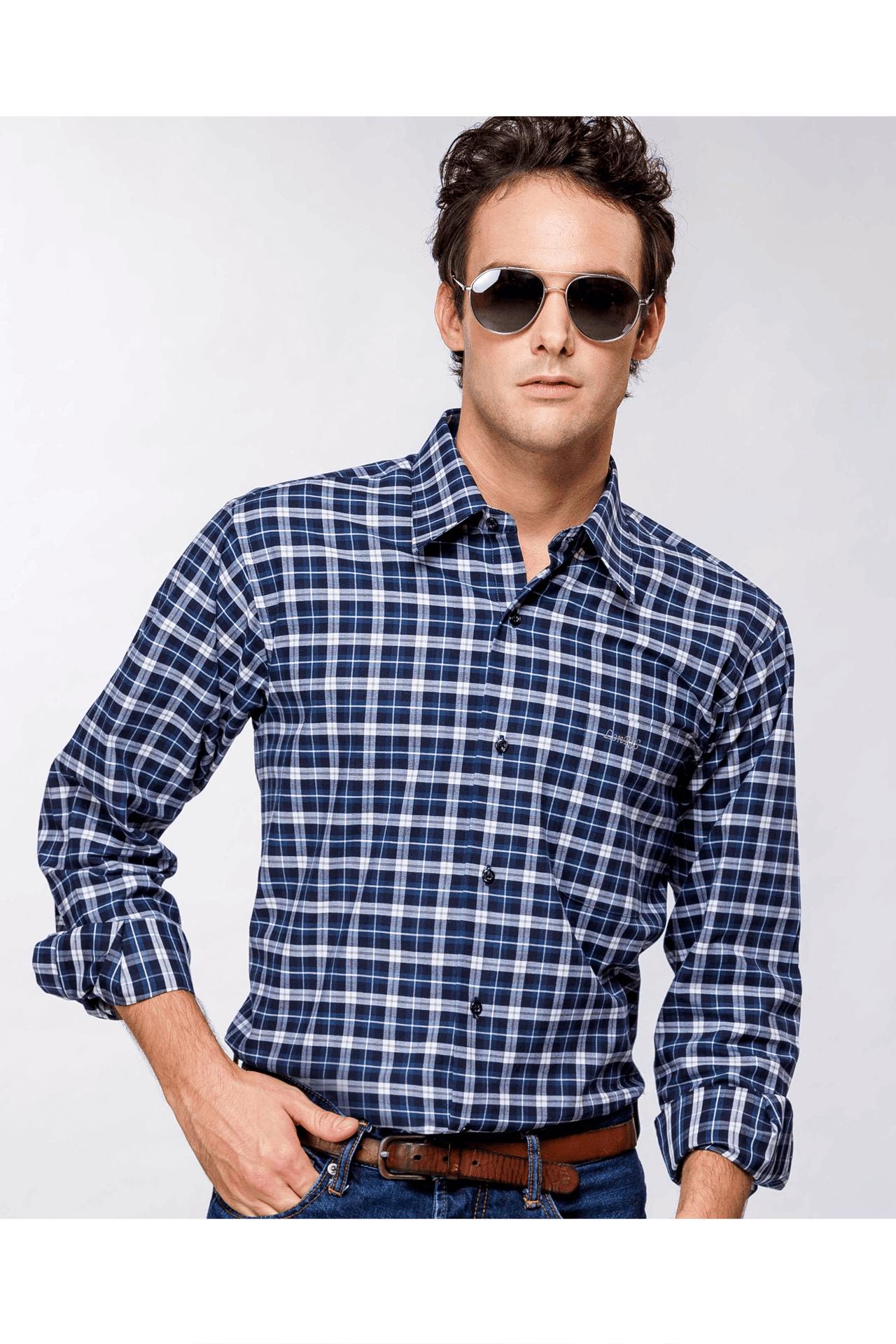 雙色格紋純棉磨毛長袖襯衫(藍白 )/舒適透氣<br />