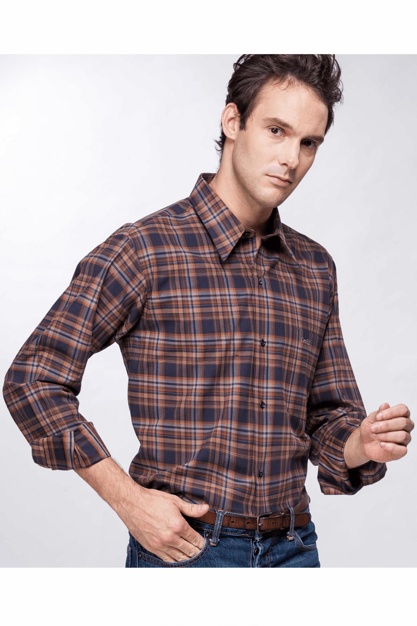 雙色格紋純棉磨毛長袖襯衫(藍黃)/舒適透氣<br />