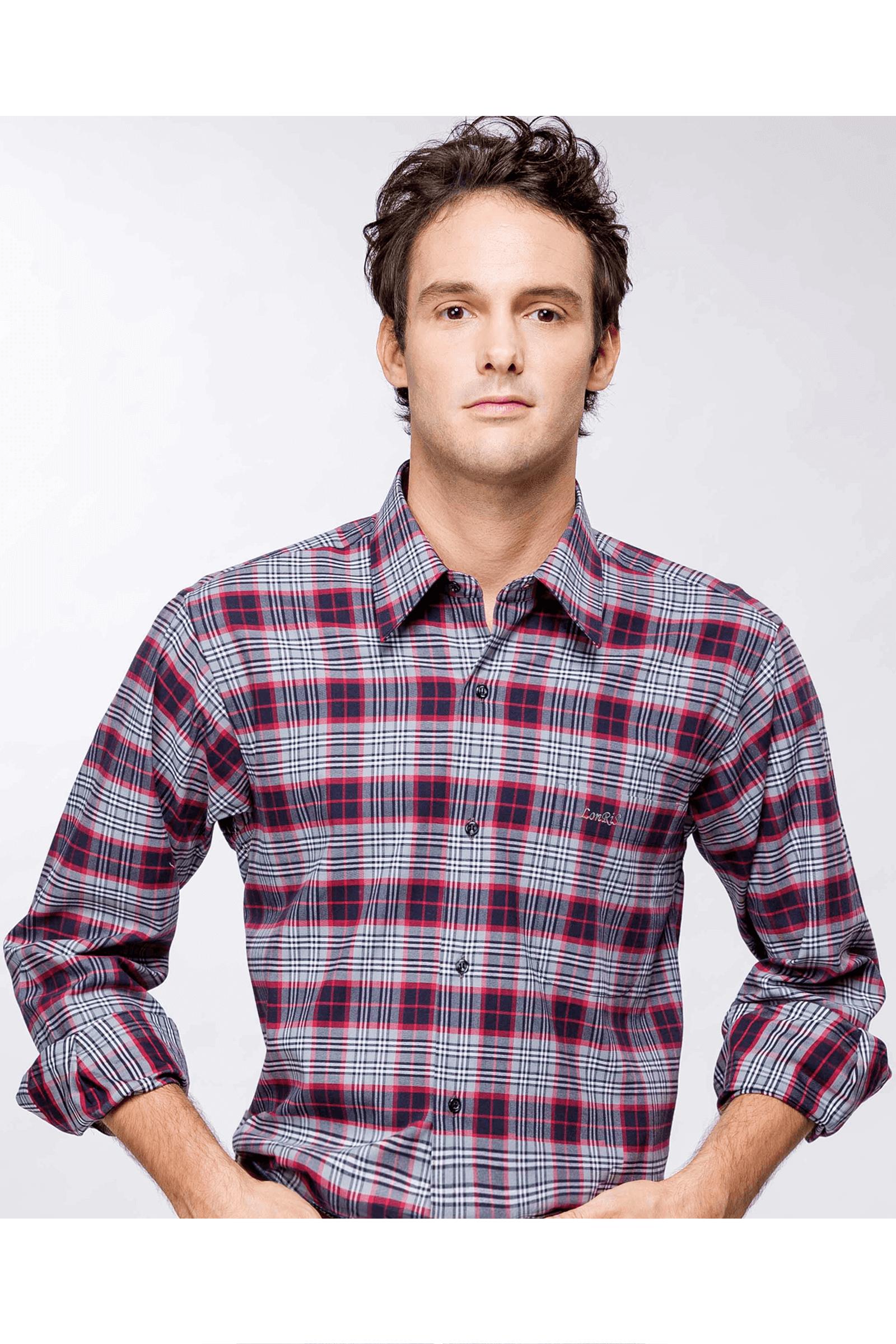 雙色格紋純棉磨毛長袖襯衫(紅黑)/舒適透氣