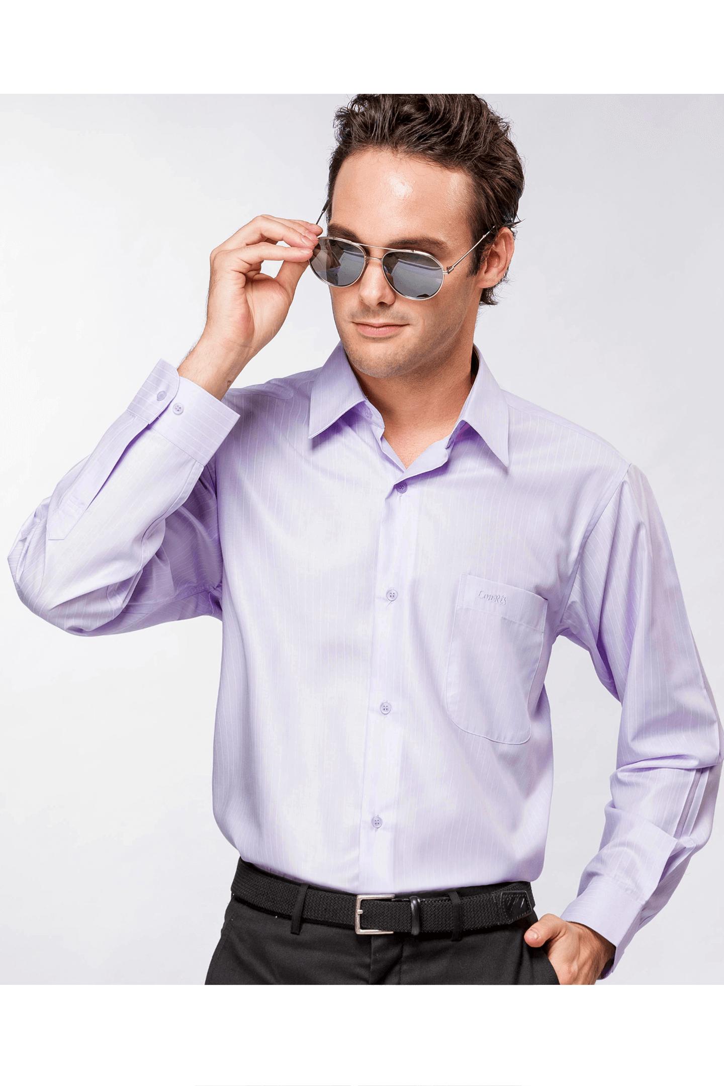 淺紫色緹花長袖襯衫/抗皺 舒適透氣
