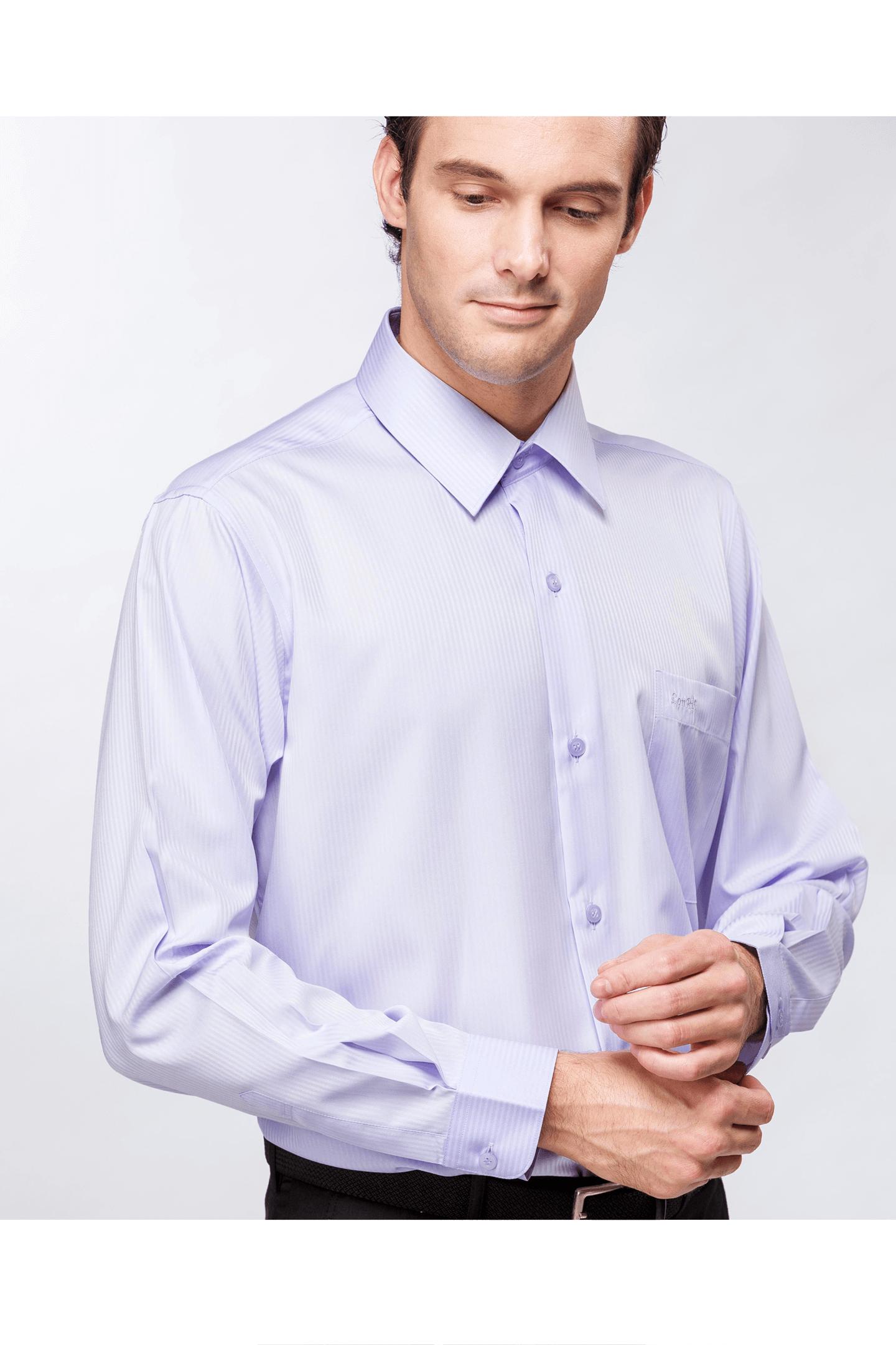 紫色直紋緹花長袖襯衫/抗皺 吸濕排汗