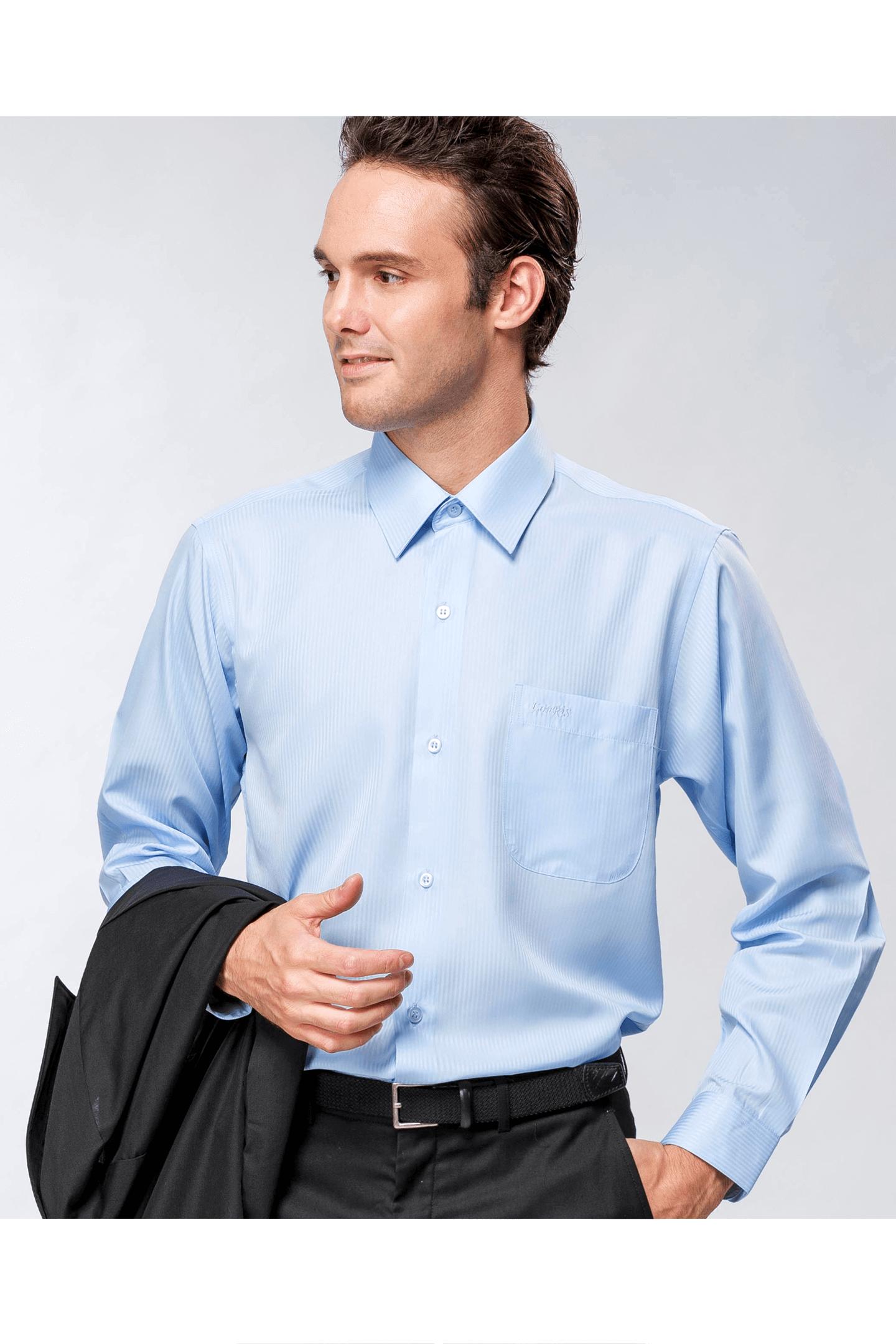 藍色直紋緹花長袖襯衫/抗皺 吸濕排汗