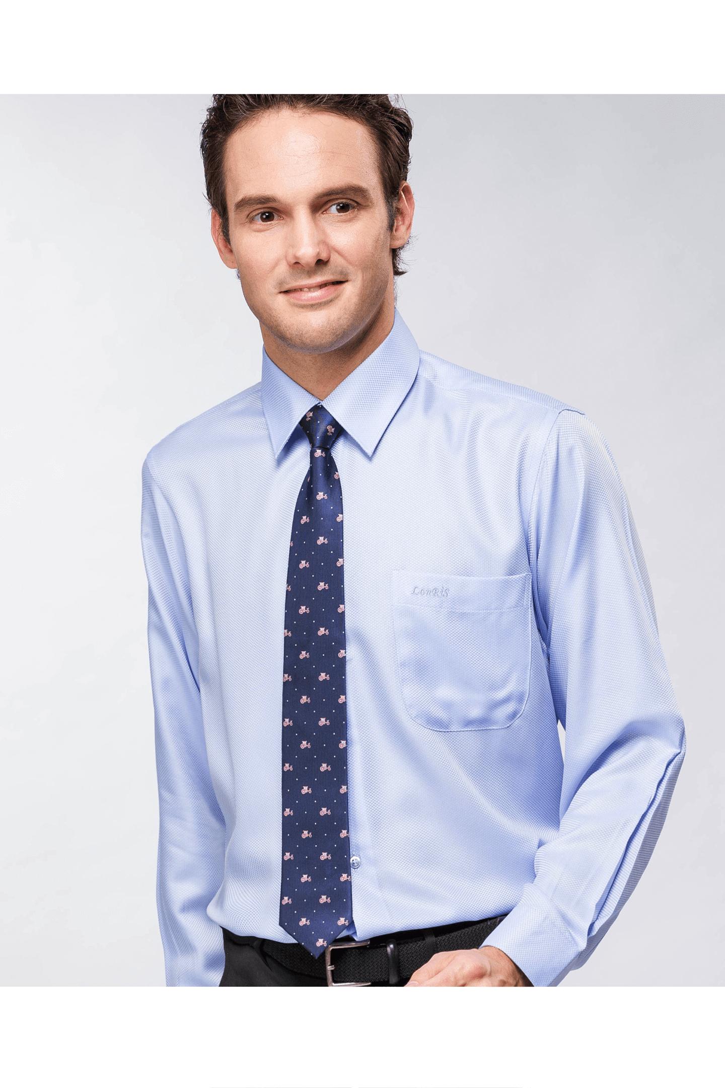 藍色細格長袖襯衫/抗皺 吸濕排汗
