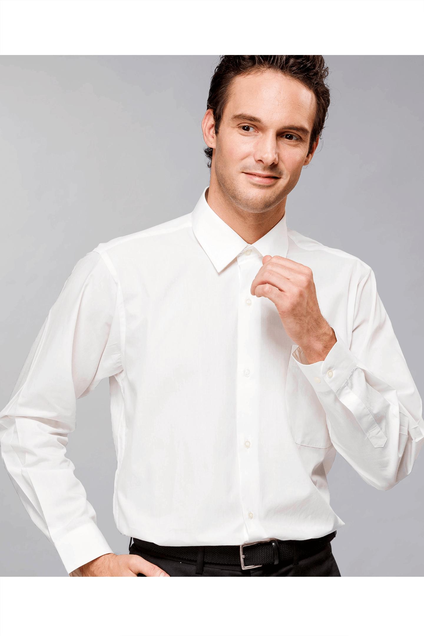 米白色素面棉質長袖襯衫 / 舒適透氣<br />