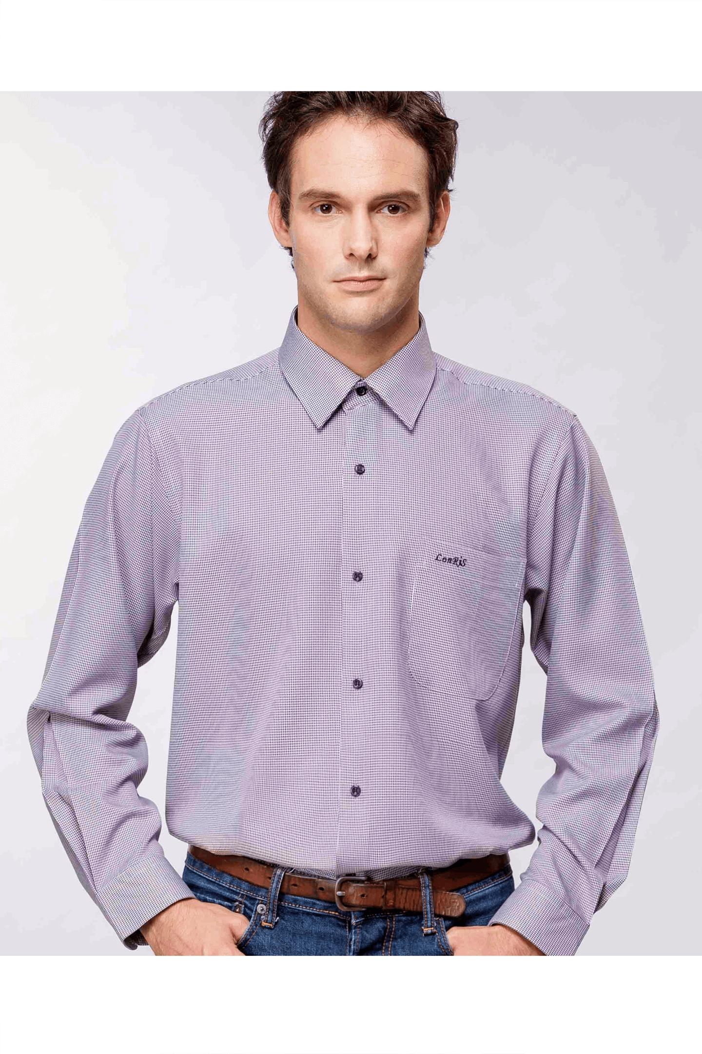 深紫千鳥格長袖襯衫/抗皺 吸濕排汗