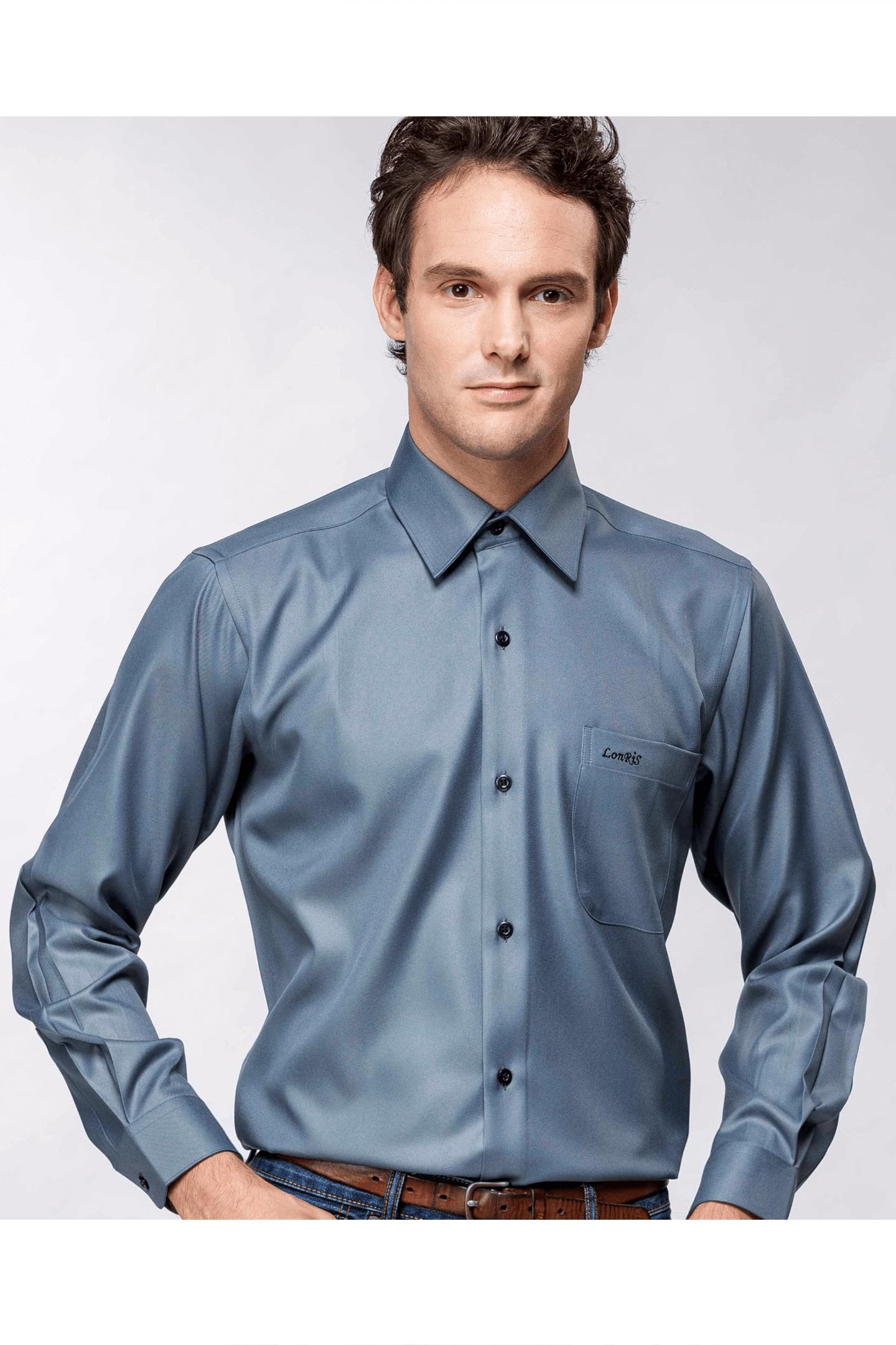 灰色細斜紋長袖襯衫/抗皺
