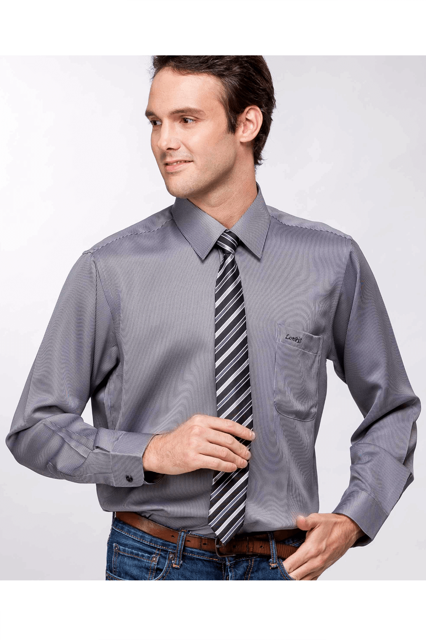灰黑條長袖襯衫/抗皺 吸濕排汗