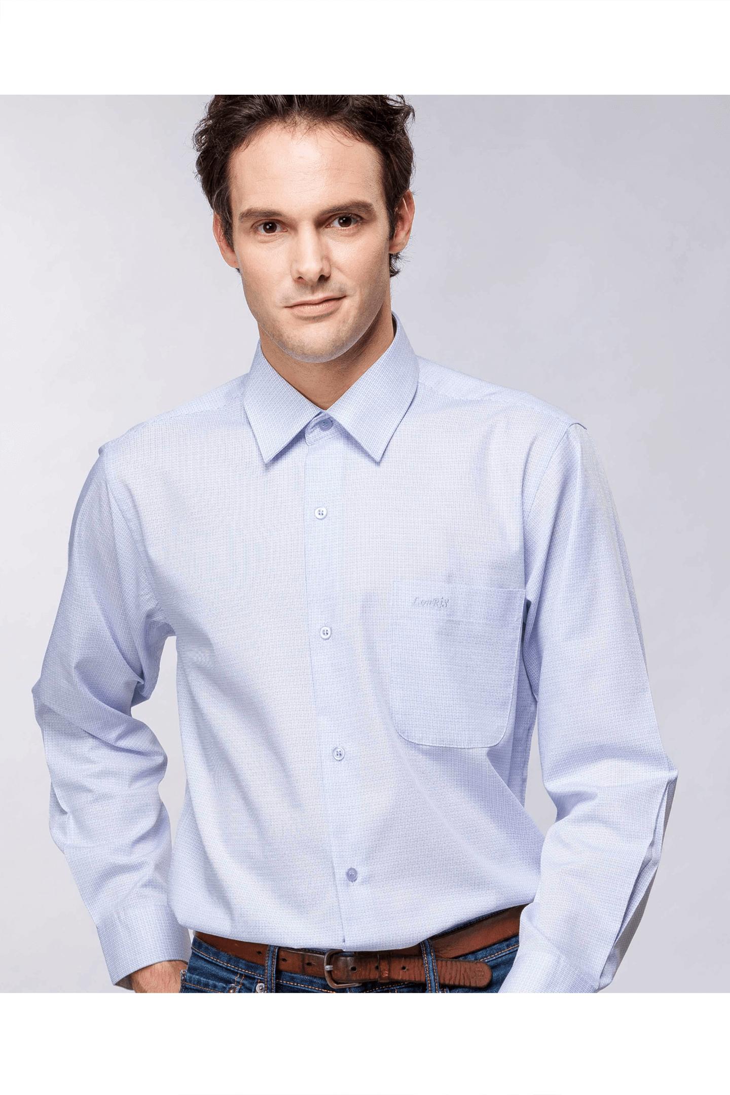 白底細格棉質長袖襯衫/抗皺 吸濕排汗