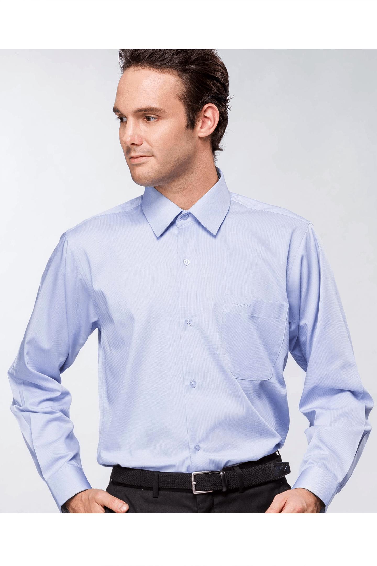 藍色細條棉質長袖襯衫/抗皺 吸濕排汗