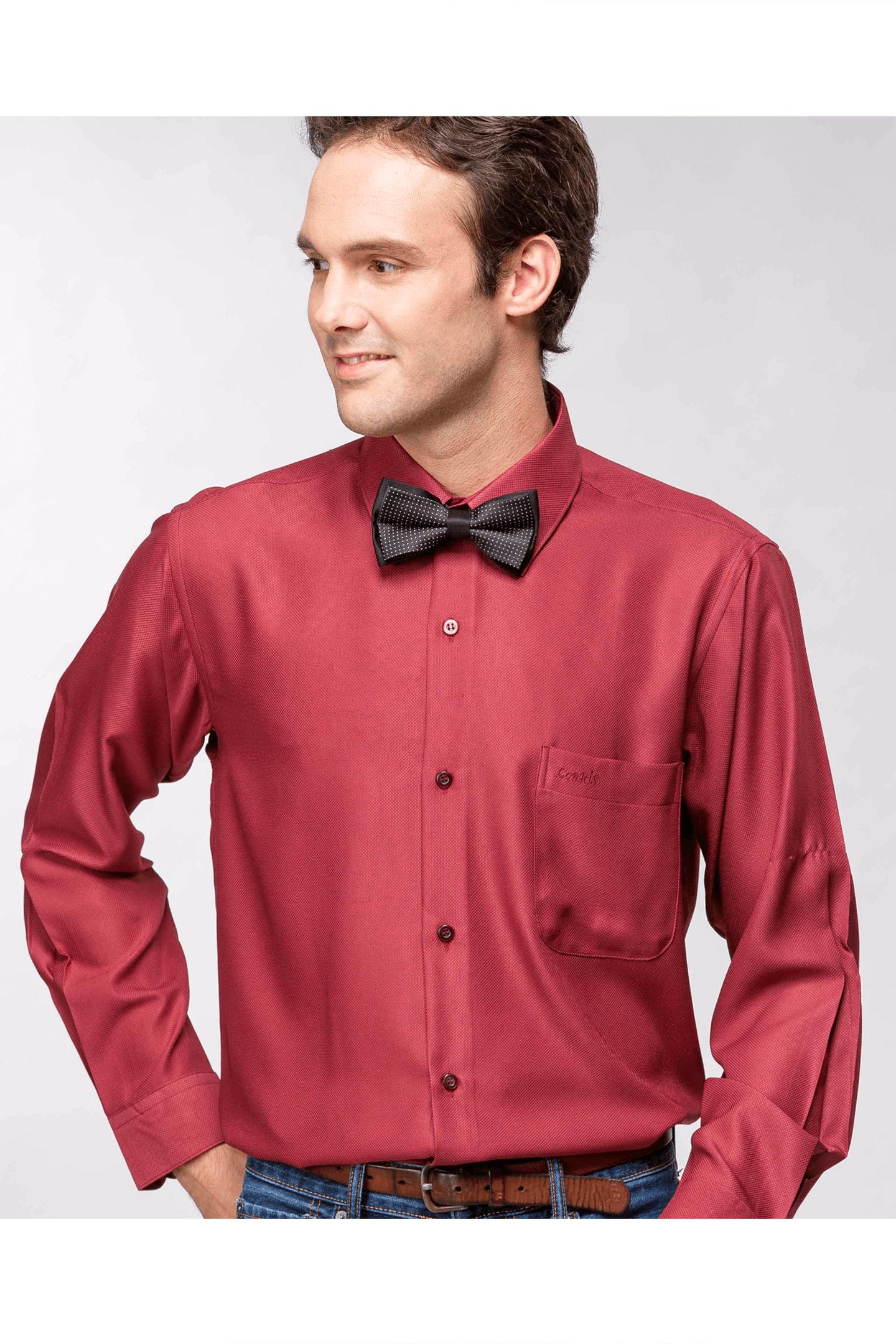 暗紅緹花長袖襯衫/抗皺 吸濕排汗