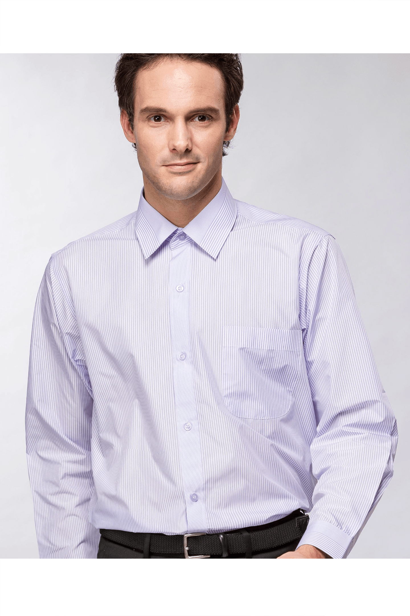 紫條定位長袖襯衫/抗皺 吸濕排汗