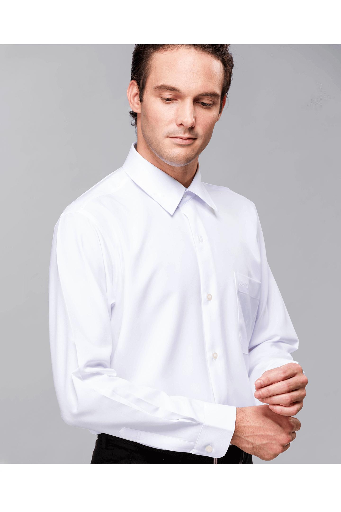 純白色素面長袖襯衫/抗皺 吸濕排汗