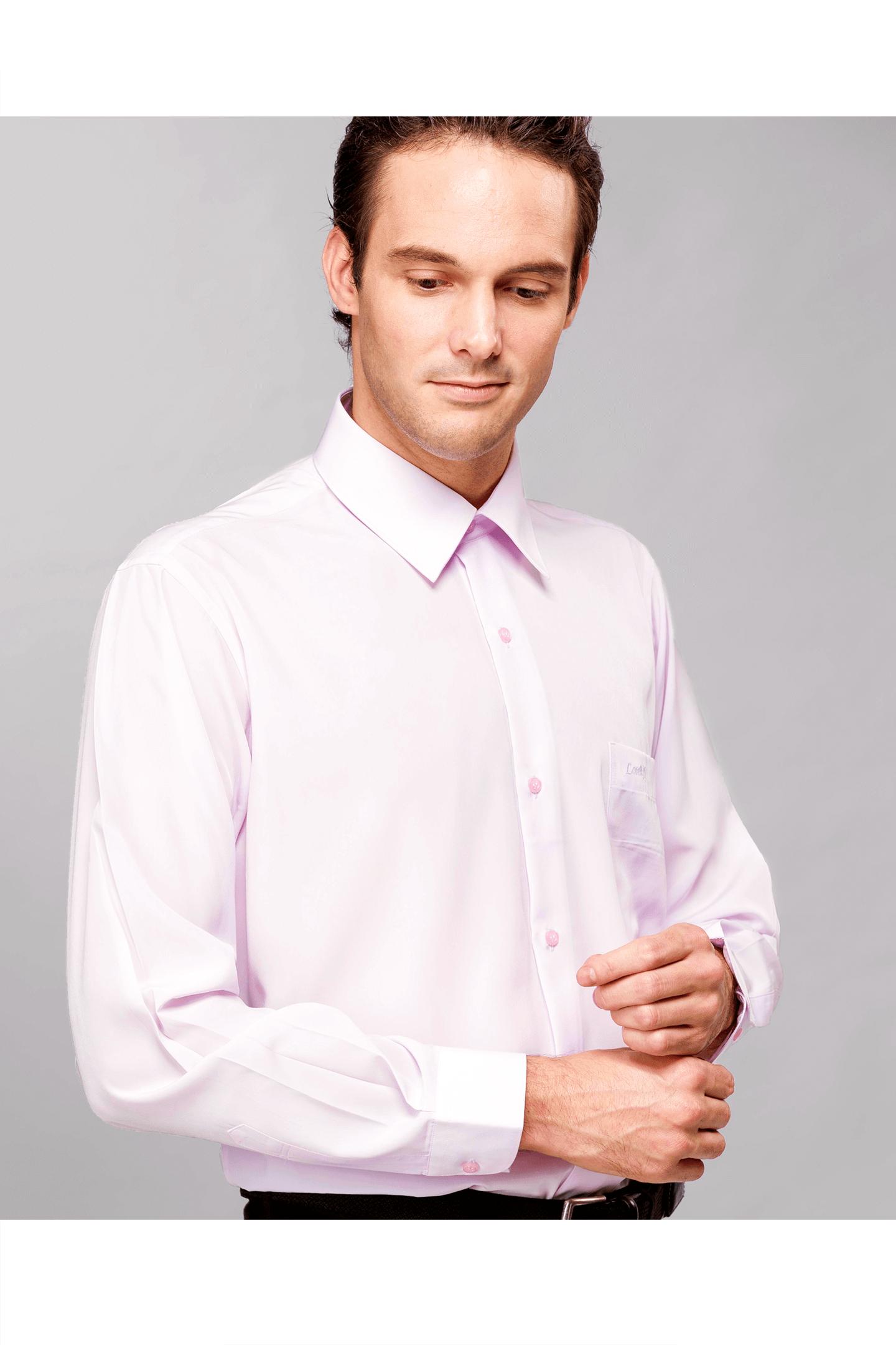 粉色素面長袖襯衫 / 抗皺 舒適透氣<br />