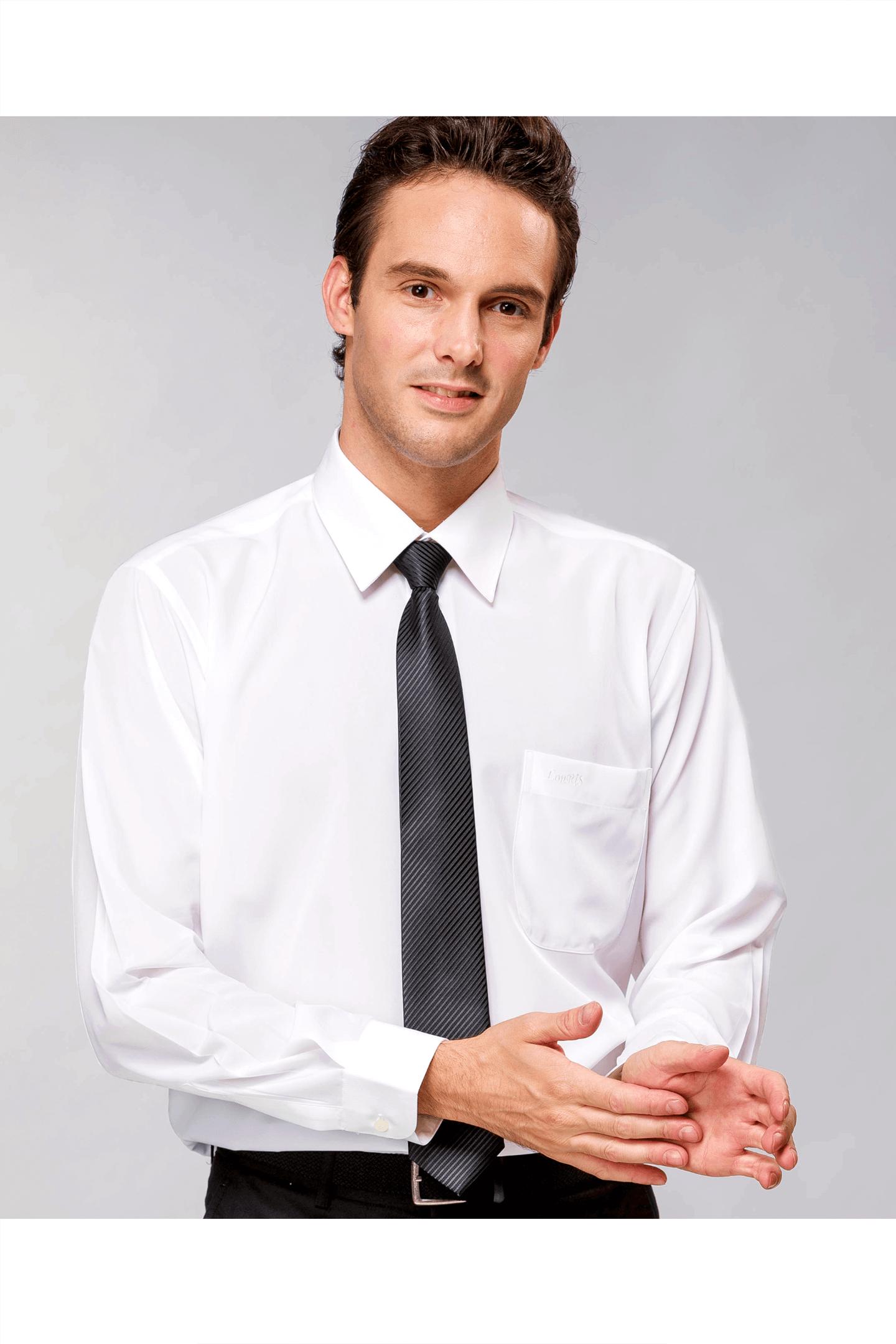 白色素面長袖襯衫 / 抗皺 舒適透氣
