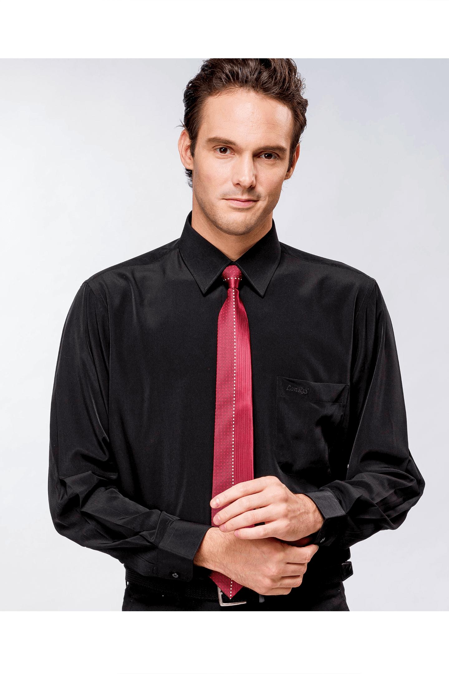 黑色素面長袖襯衫 / 抗皺 舒適透氣