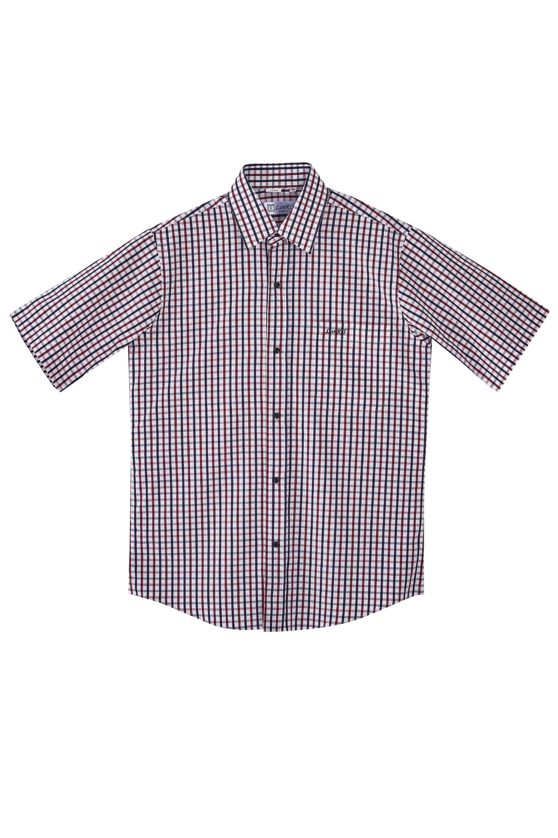 紅黑格紋純棉短袖襯衫/舒適透氣