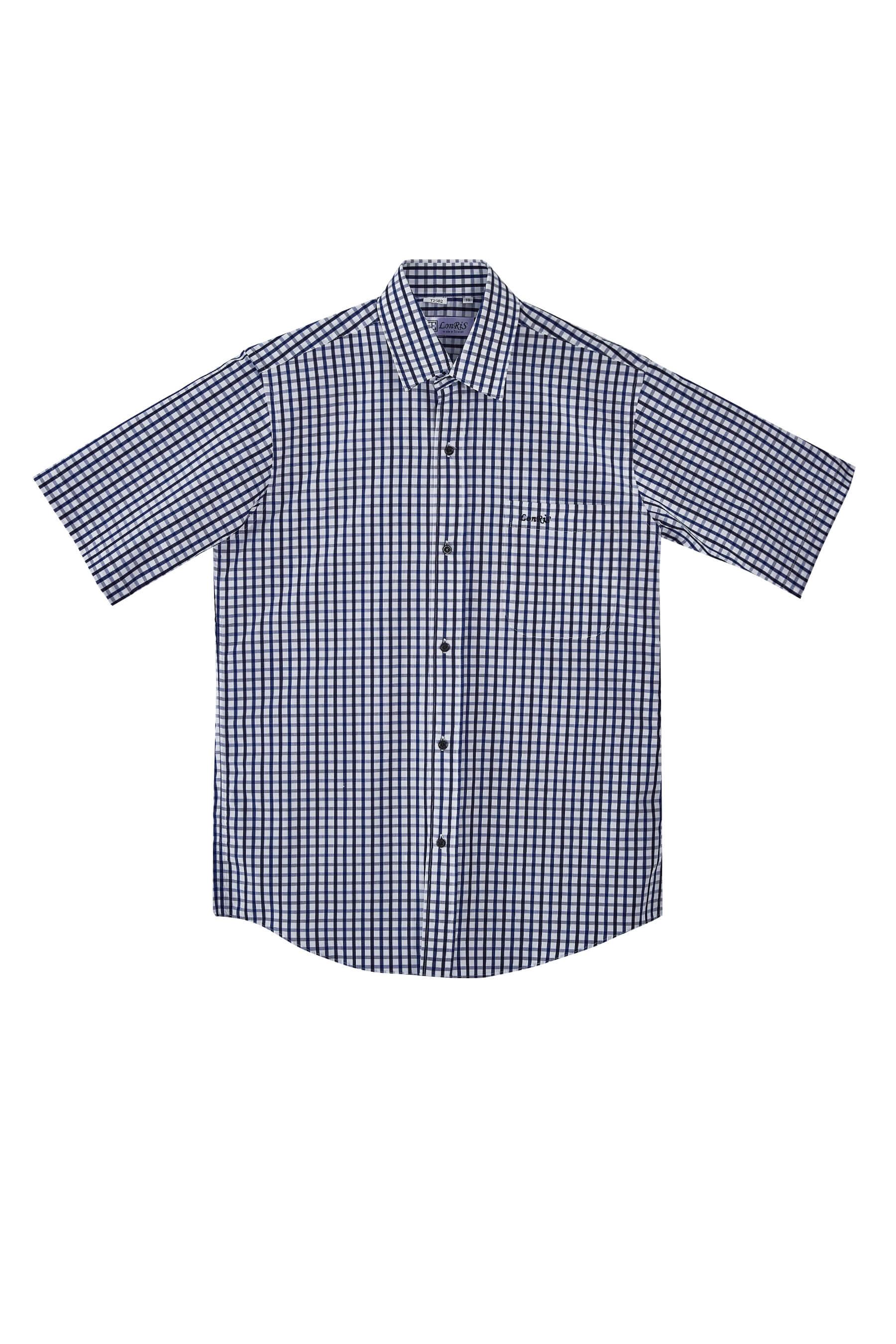 黑藍格紋純棉短袖襯衫/舒適透氣