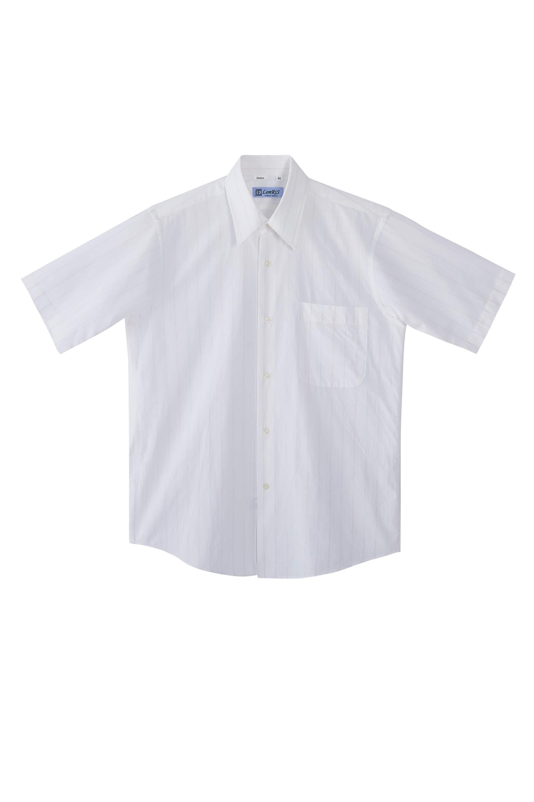 白底粉藍條紋棉質短袖襯衫/舒適透氣