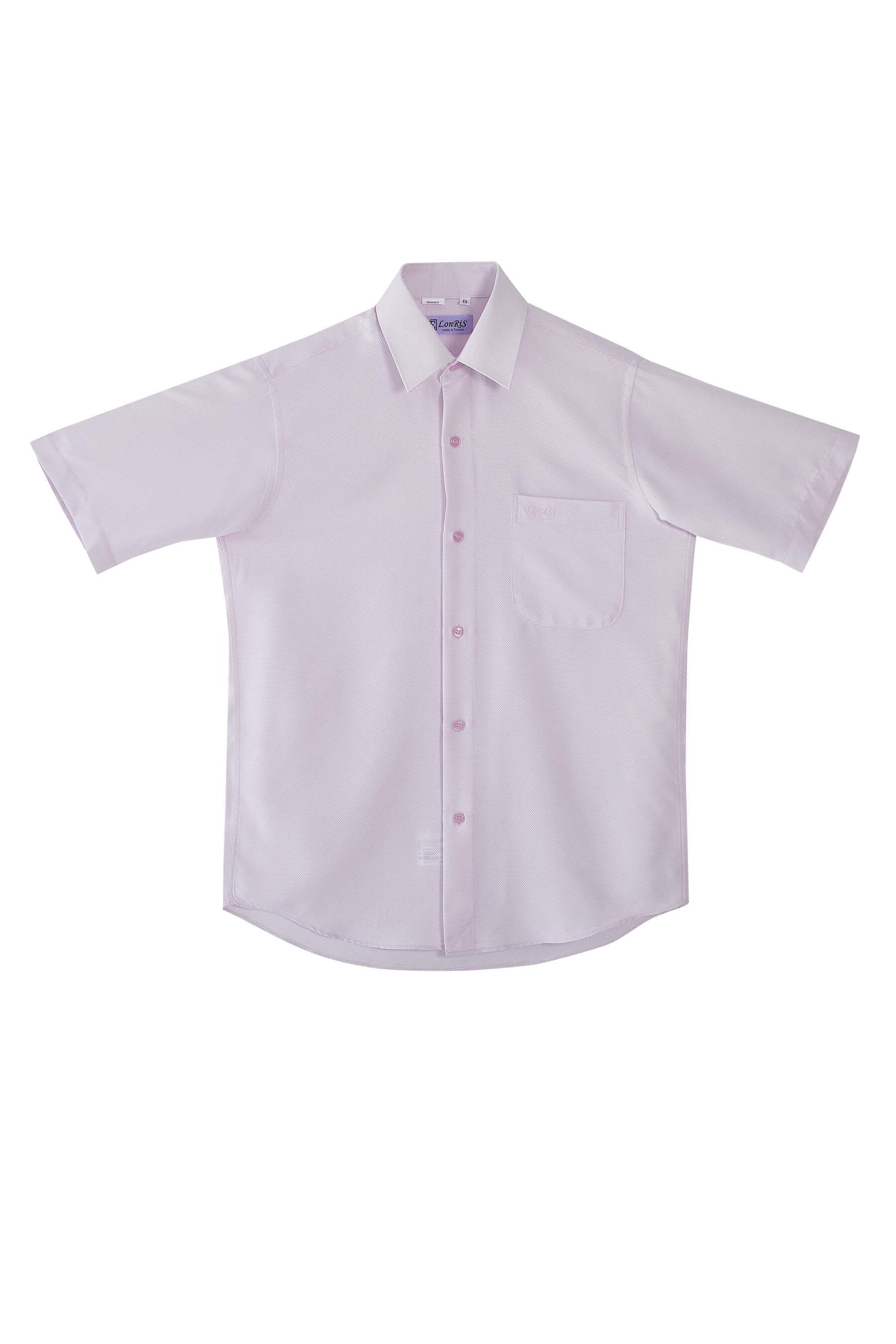 粉條白斜紋短袖襯衫/抗皺 吸濕排汗