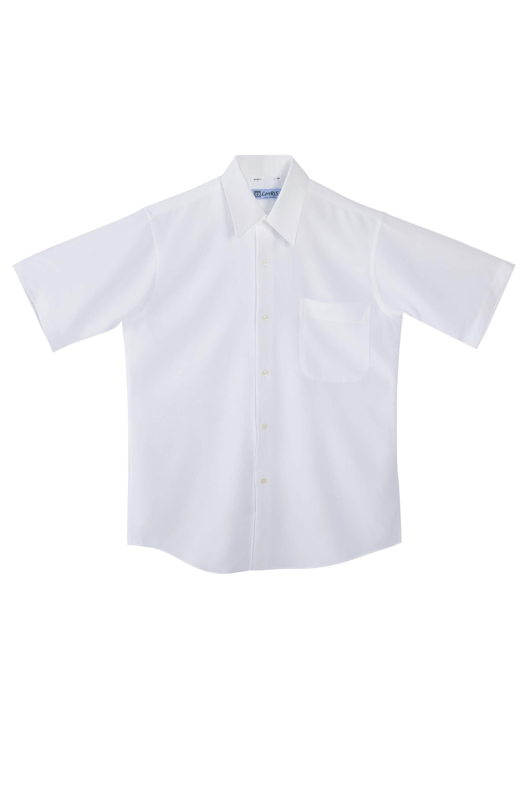 白色素面短袖襯衫/抗皺 吸濕排汗