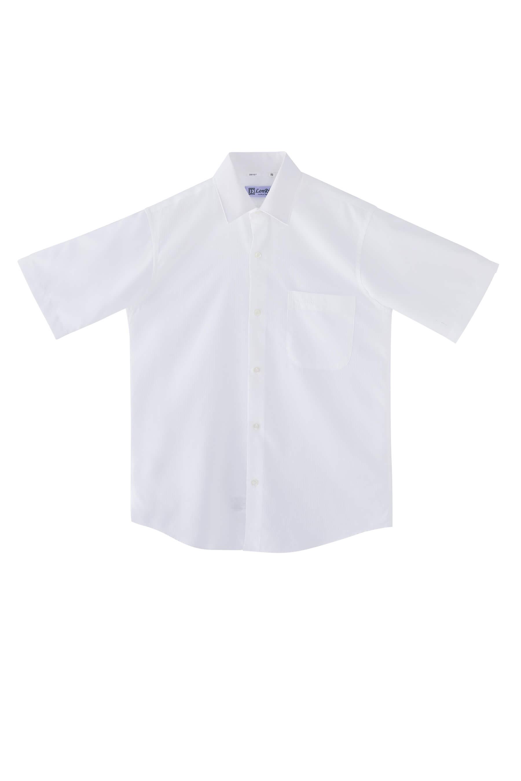 白色緹花短袖襯衫/抗皺 吸濕排汗