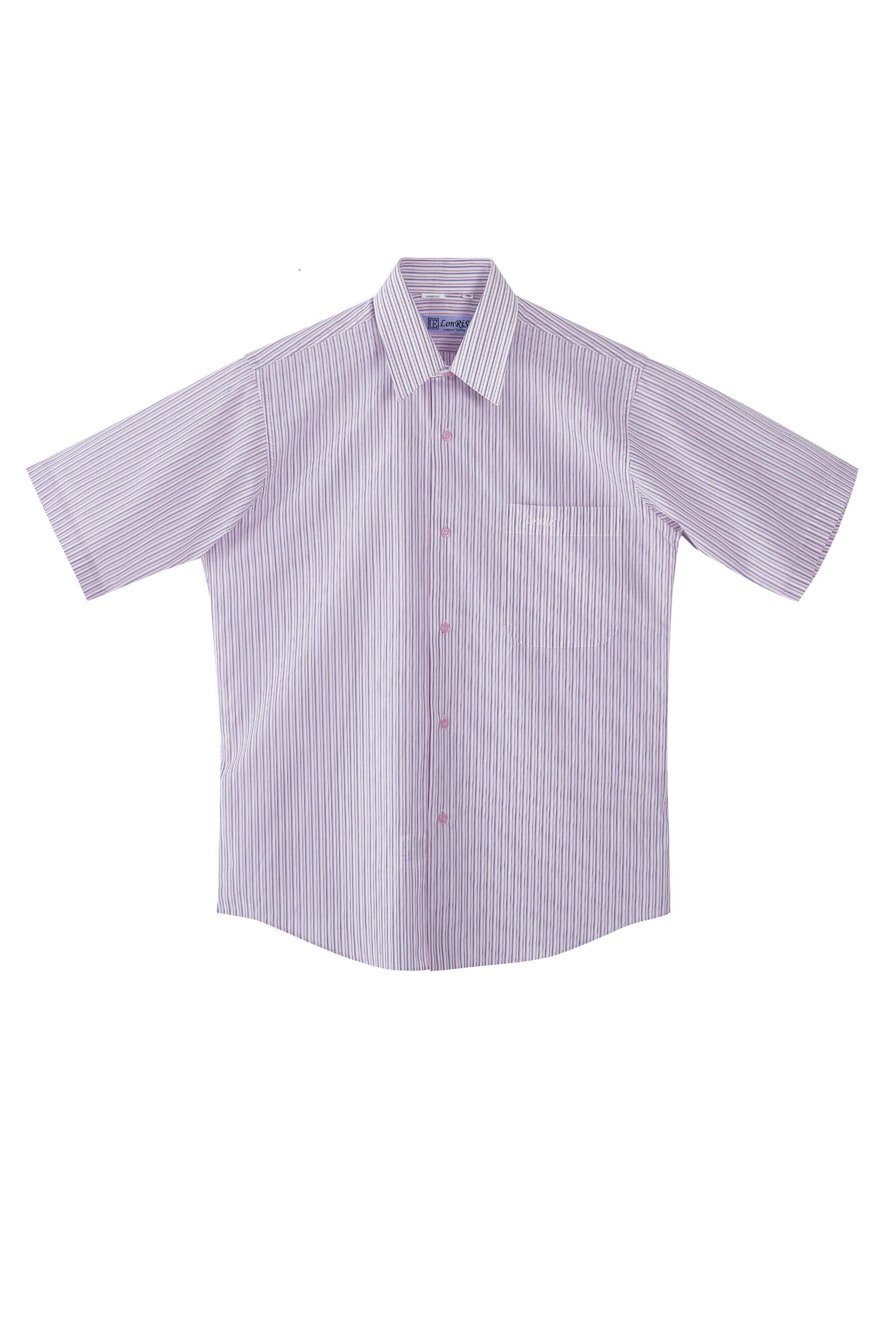 粉紫條紋棉質短袖襯衫/舒適透氣