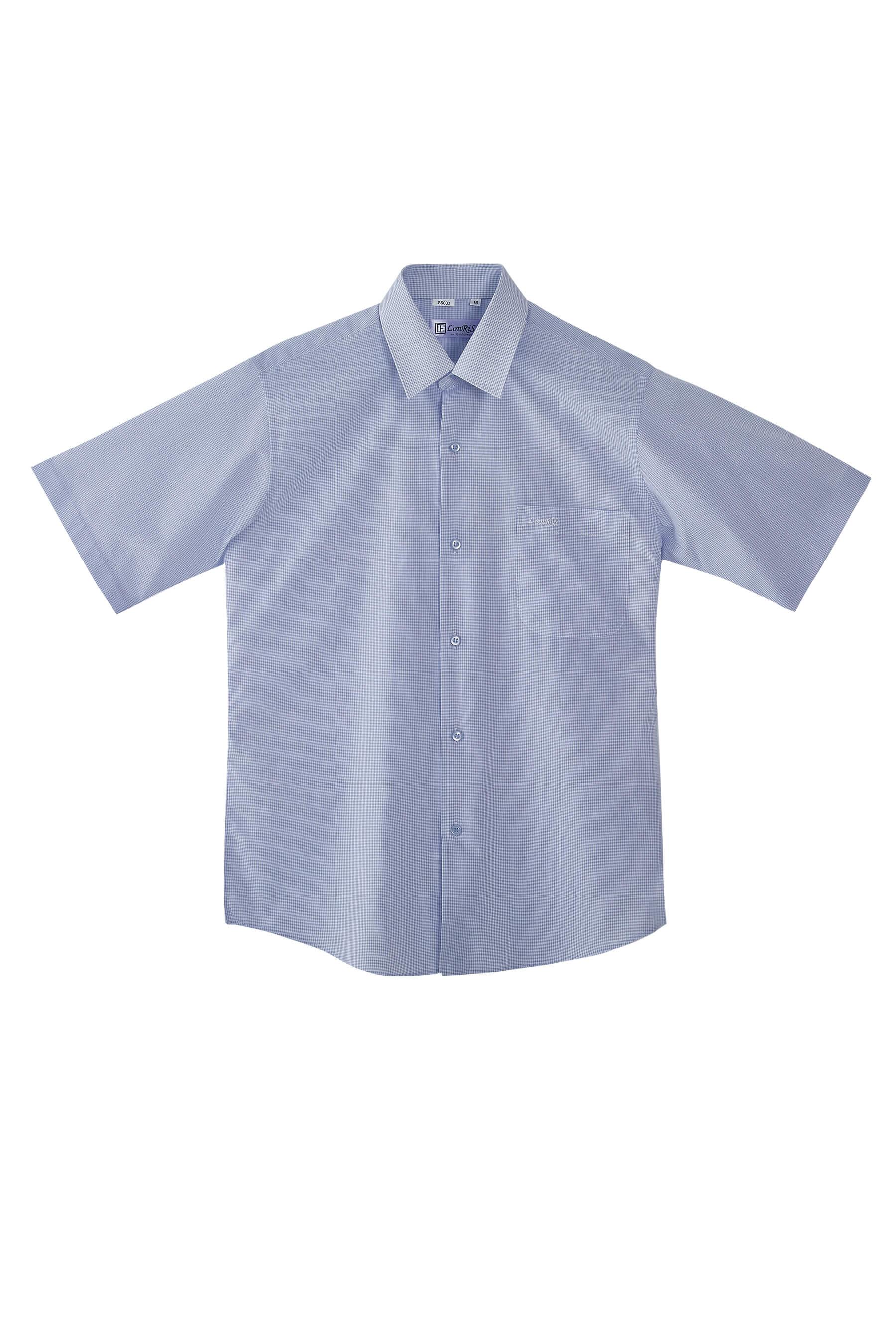 灰藍細格紋棉質短袖襯衫/舒適透氣