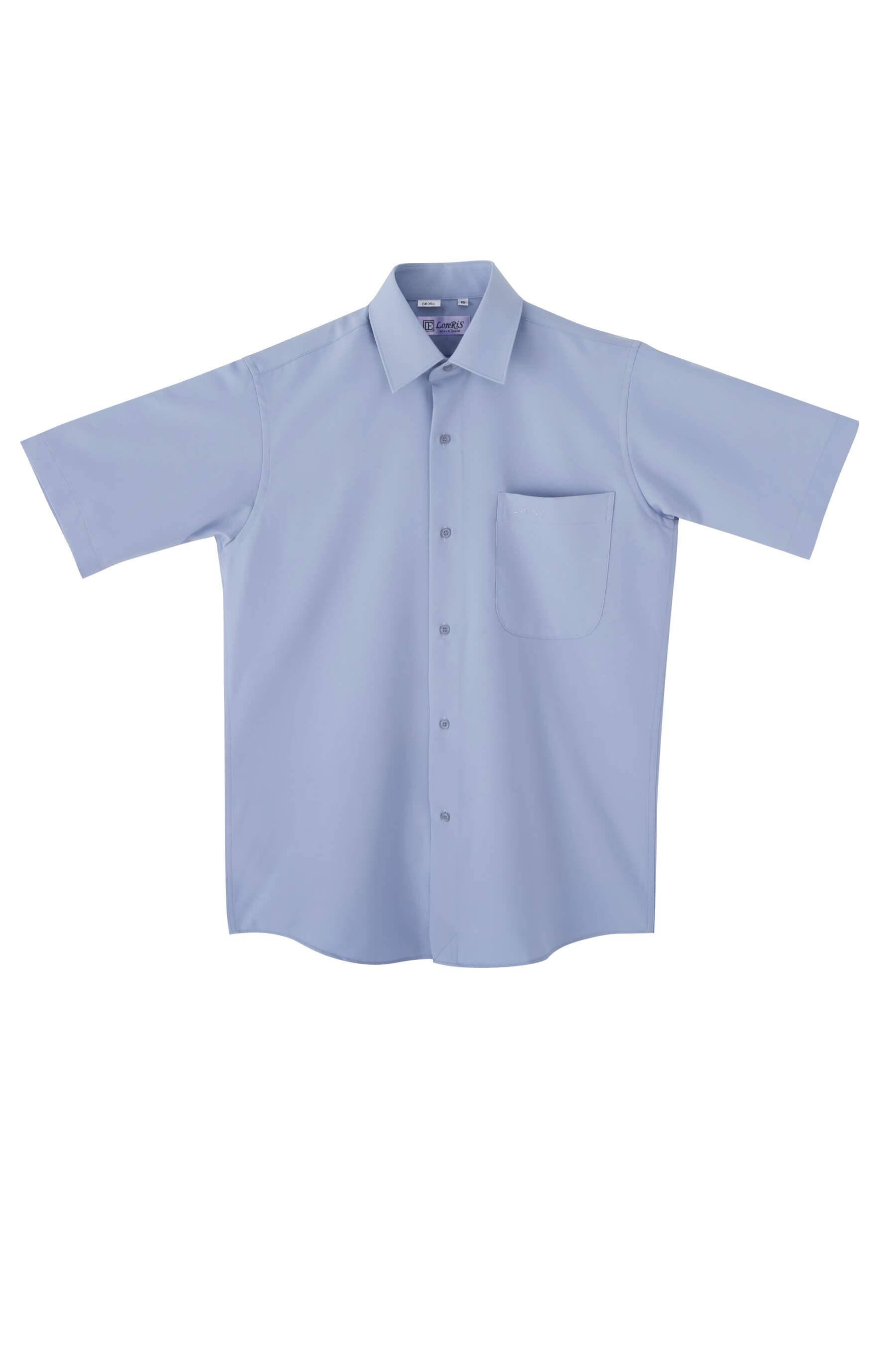 灰色素面短袖襯衫/抗皺 吸濕排汗