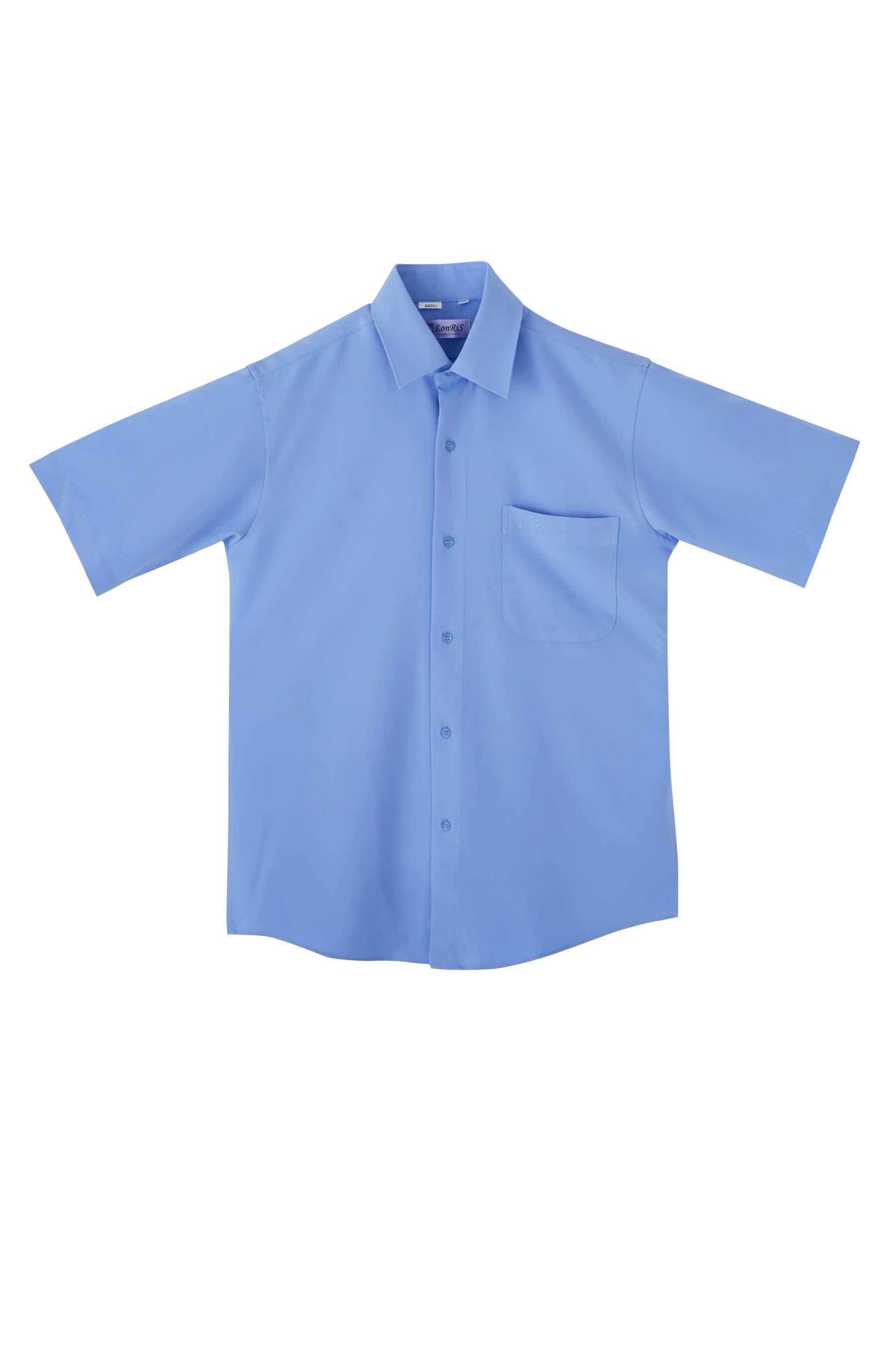 水藍色素面短袖襯衫/抗皺 吸濕排汗