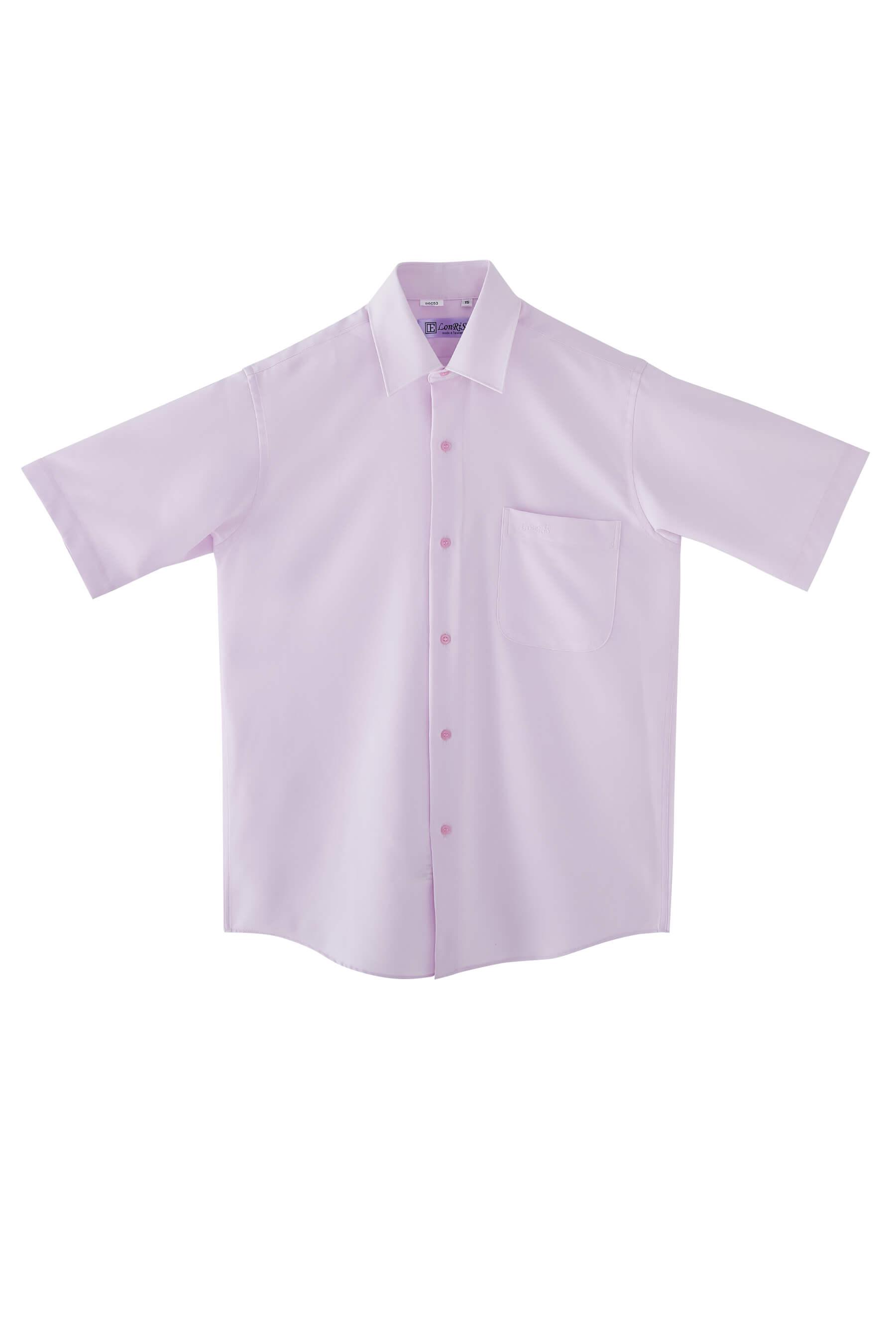 粉色素面短袖襯衫/抗皺 吸濕排汗