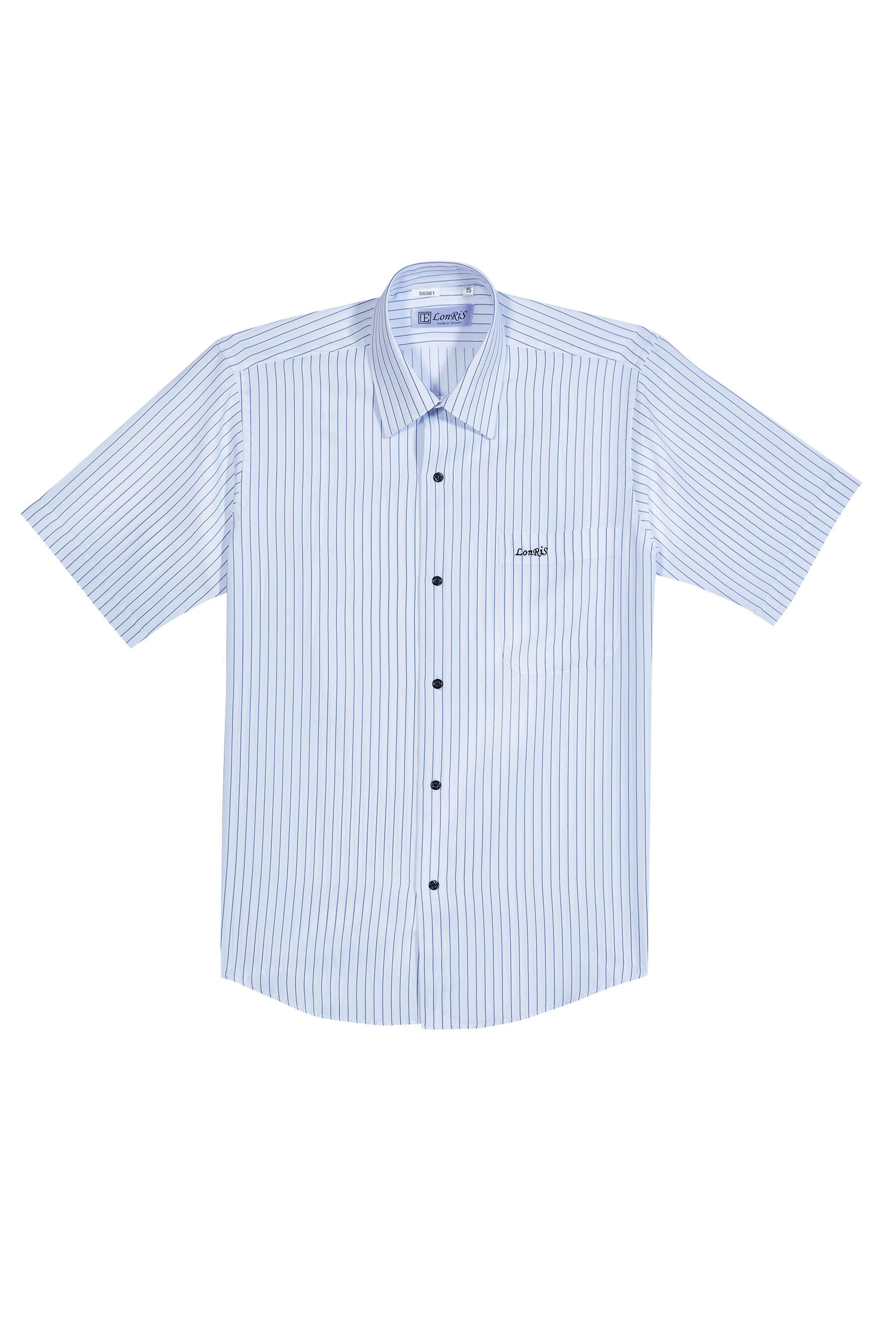 黑藍條紋短袖襯衫/抗皺 吸濕排汗