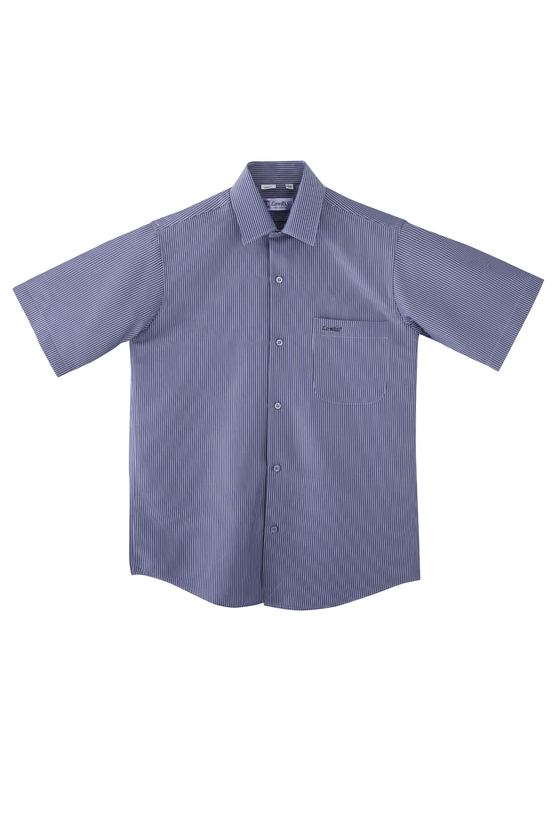 灰藍條紋短袖襯衫/抗皺 吸濕排汗