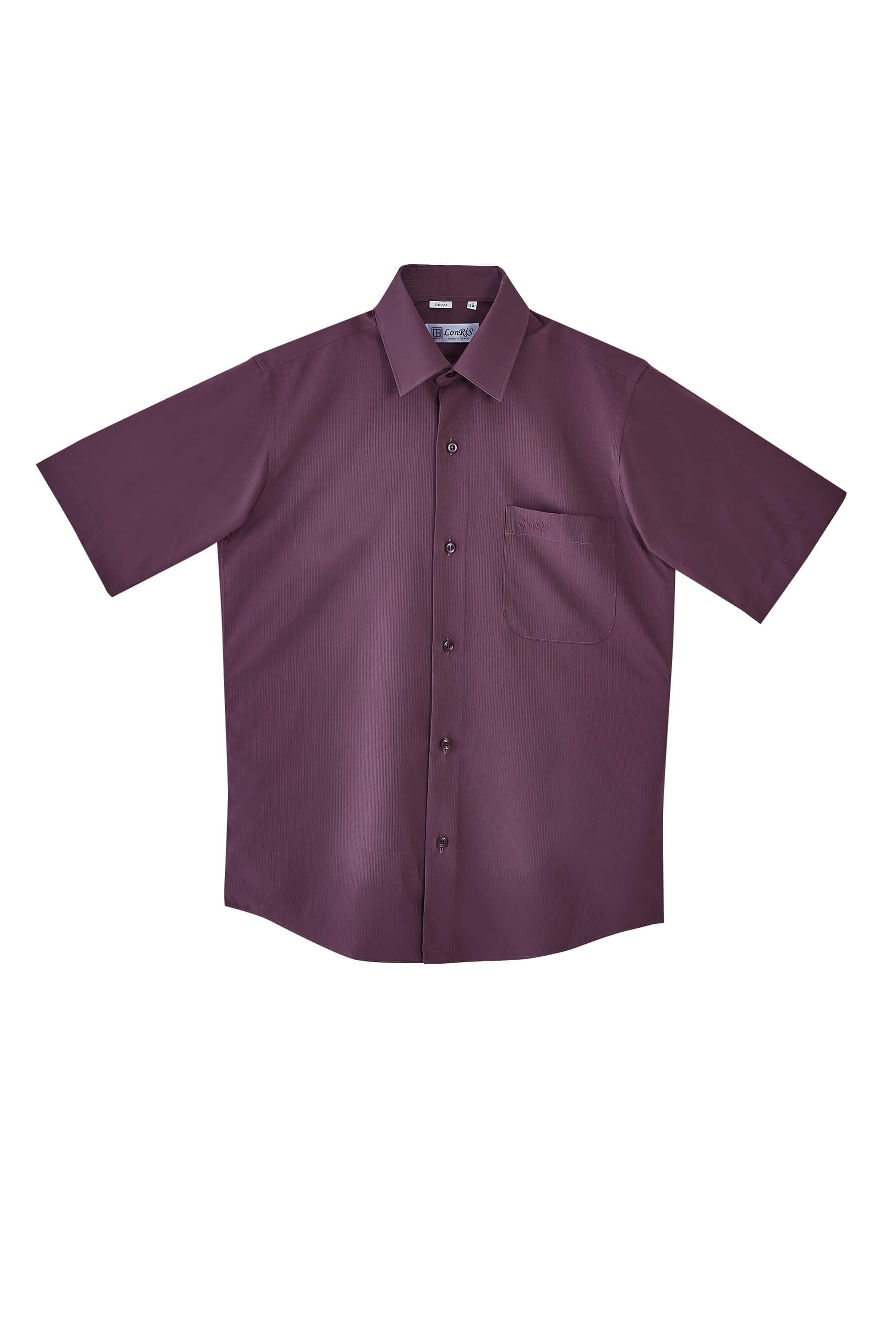 暗紫色緹花短袖襯衫/抗皺 吸濕排汗