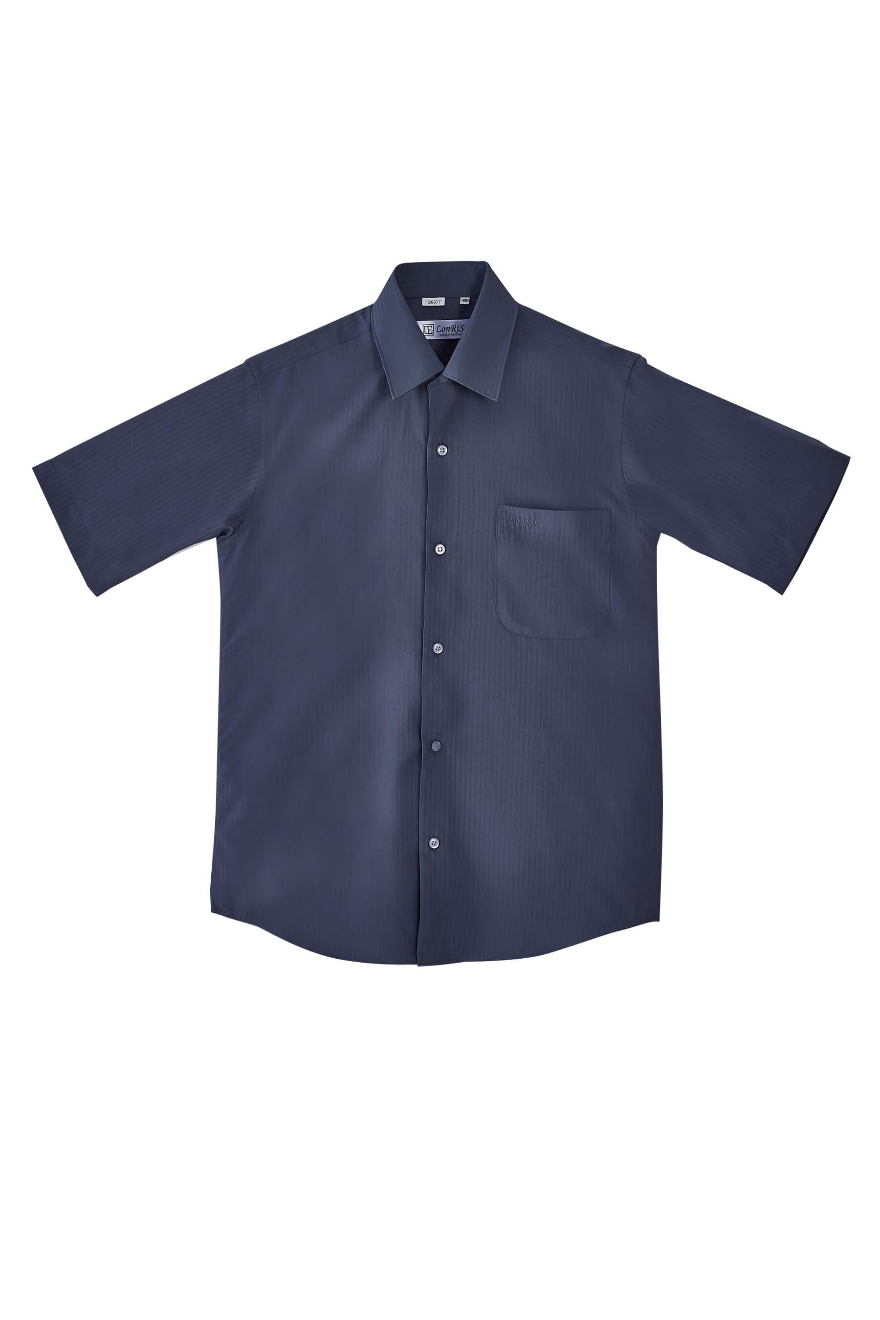 鐵灰色緹花短袖襯衫/抗皺 吸濕排汗