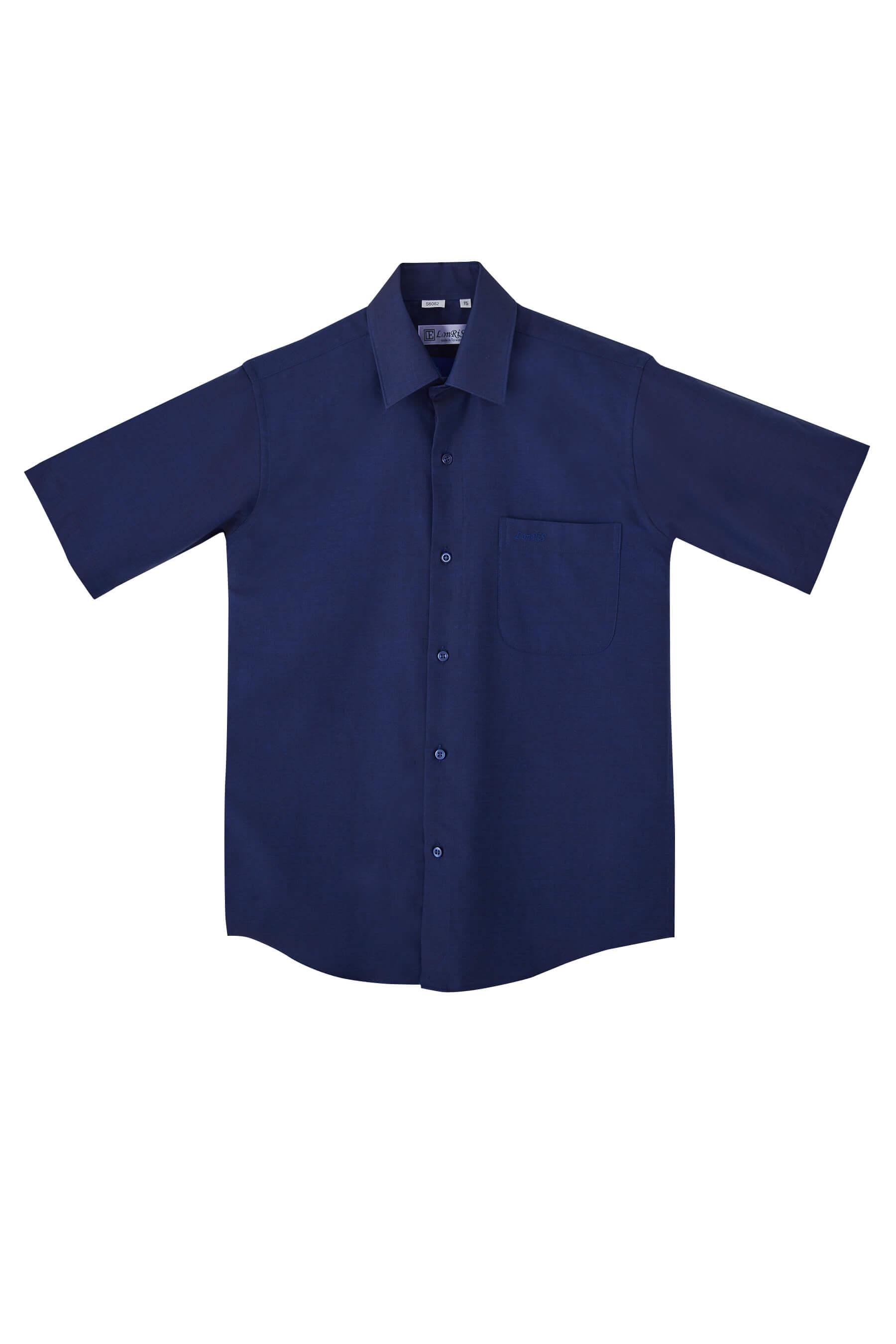 深藍色斜紋棉質短袖襯衫/舒適透氣