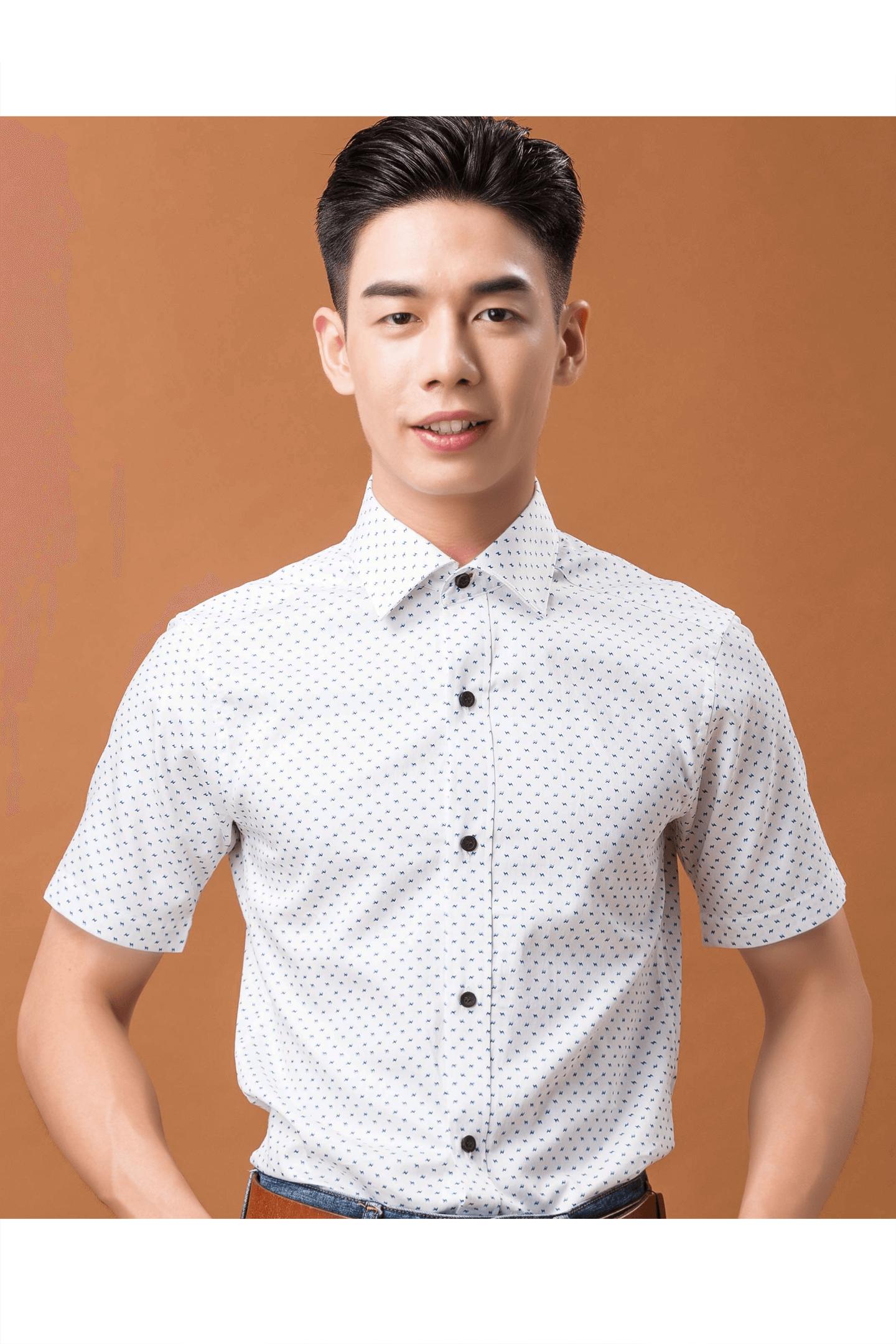 白色閃電印花防皺純棉短袖襯衫