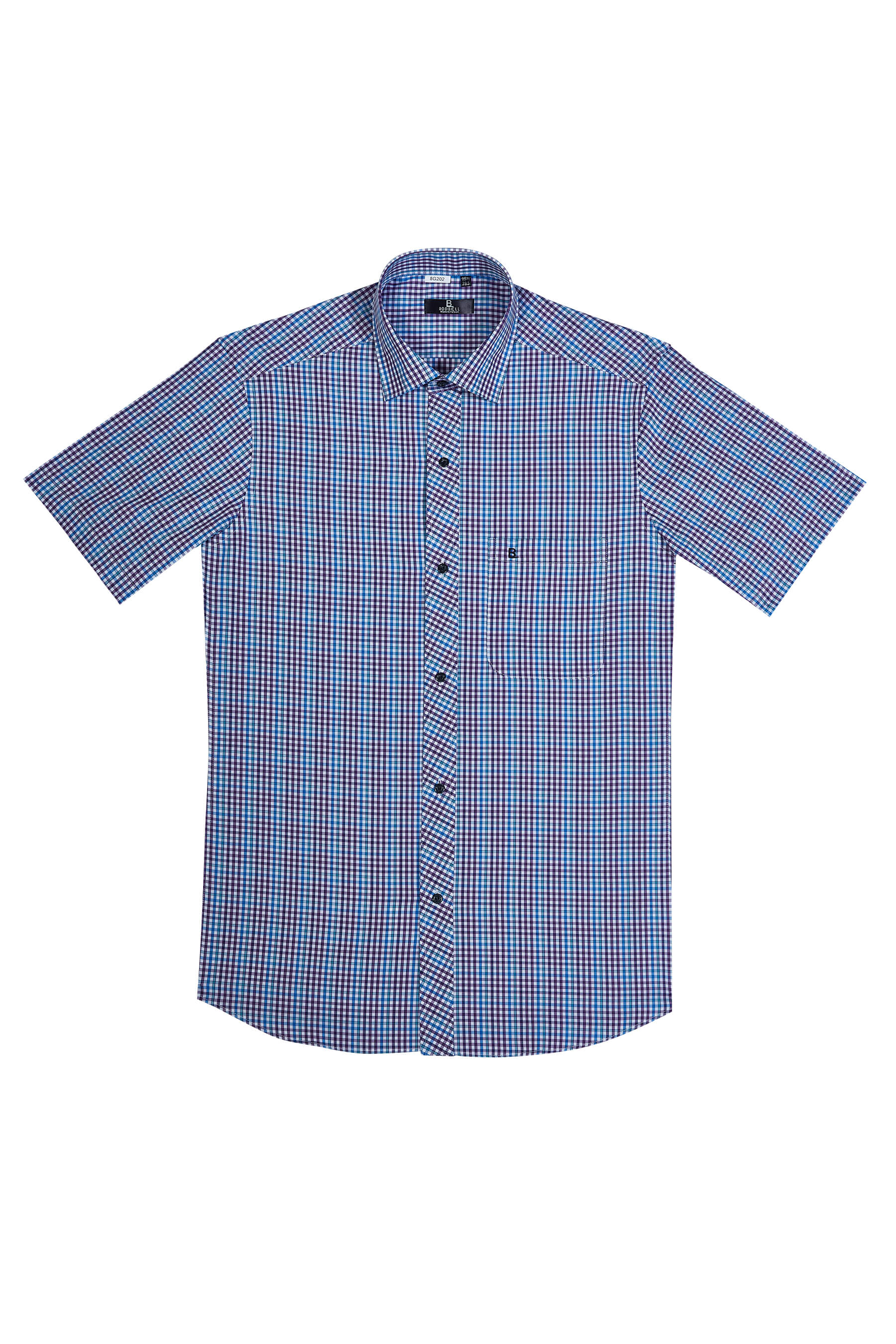 紫藍格紋純棉短袖襯衫/舒適透氣