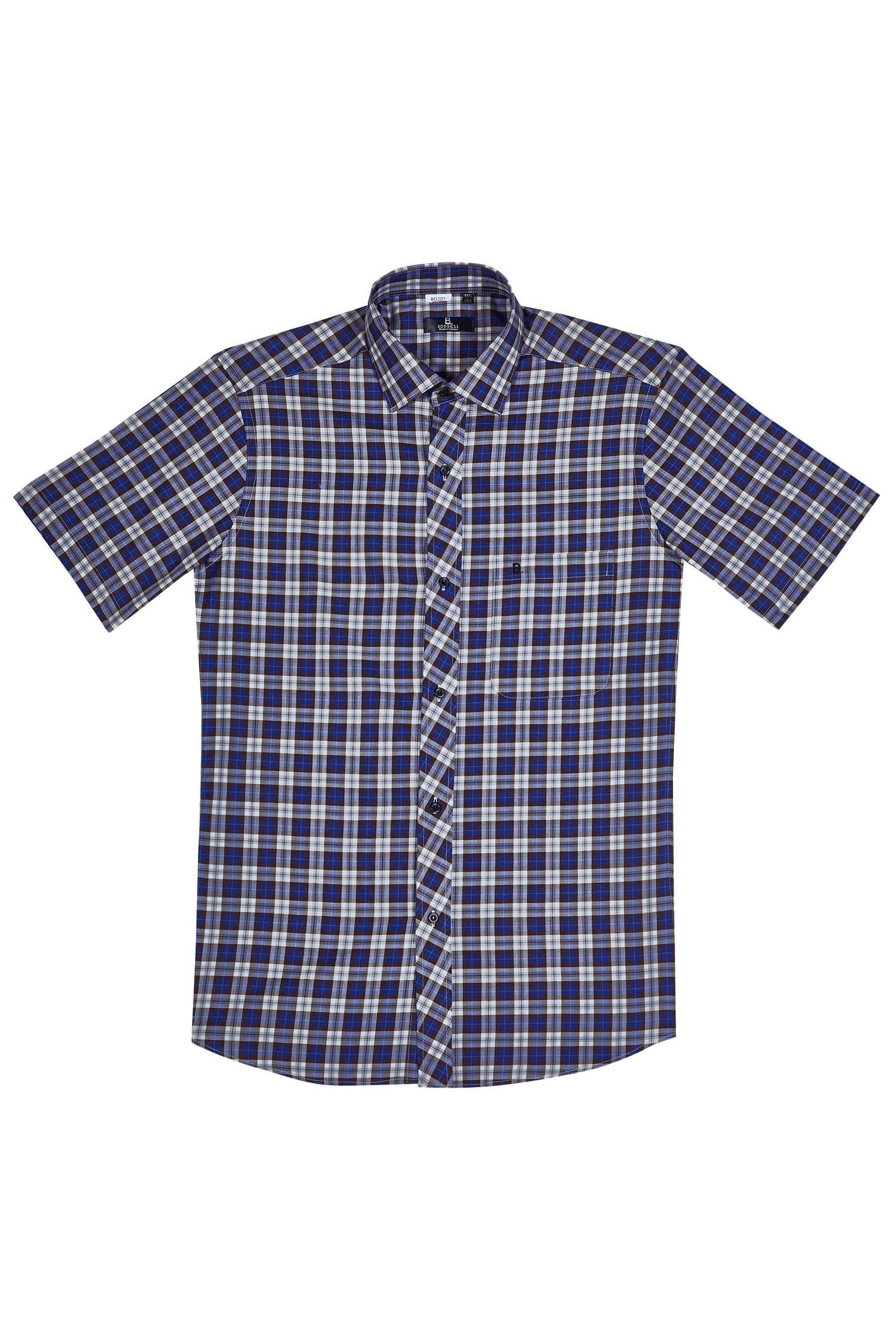 咖啡格紋純棉短袖襯衫/舒適透氣