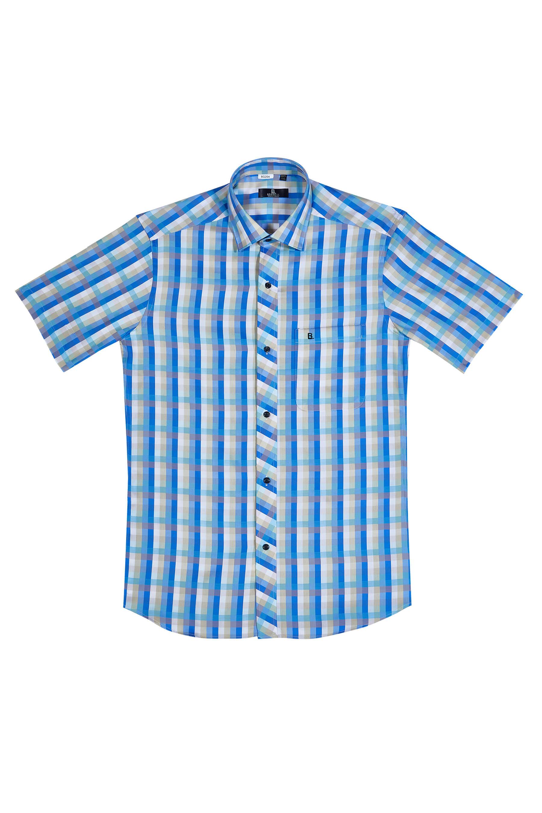 藍黃格紋純棉短袖襯衫/舒適透氣