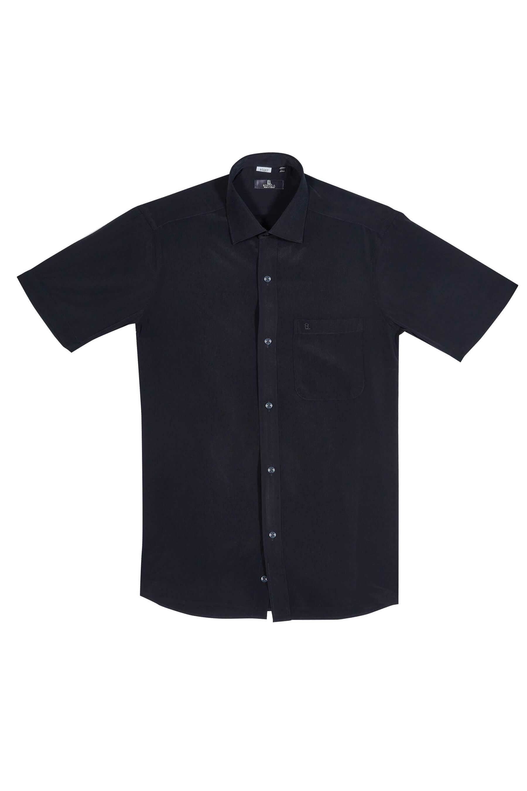 黑色素面短袖襯衫/抗皺 透氣