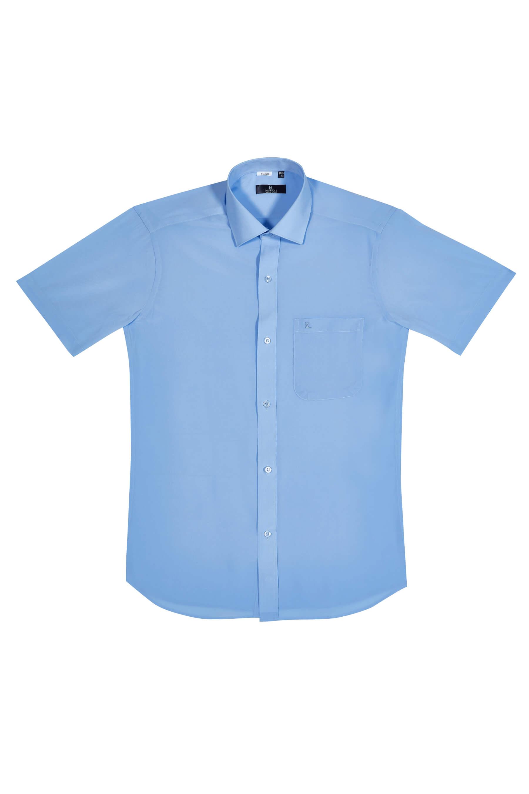 藍色素面短袖襯衫/抗皺 透氣
