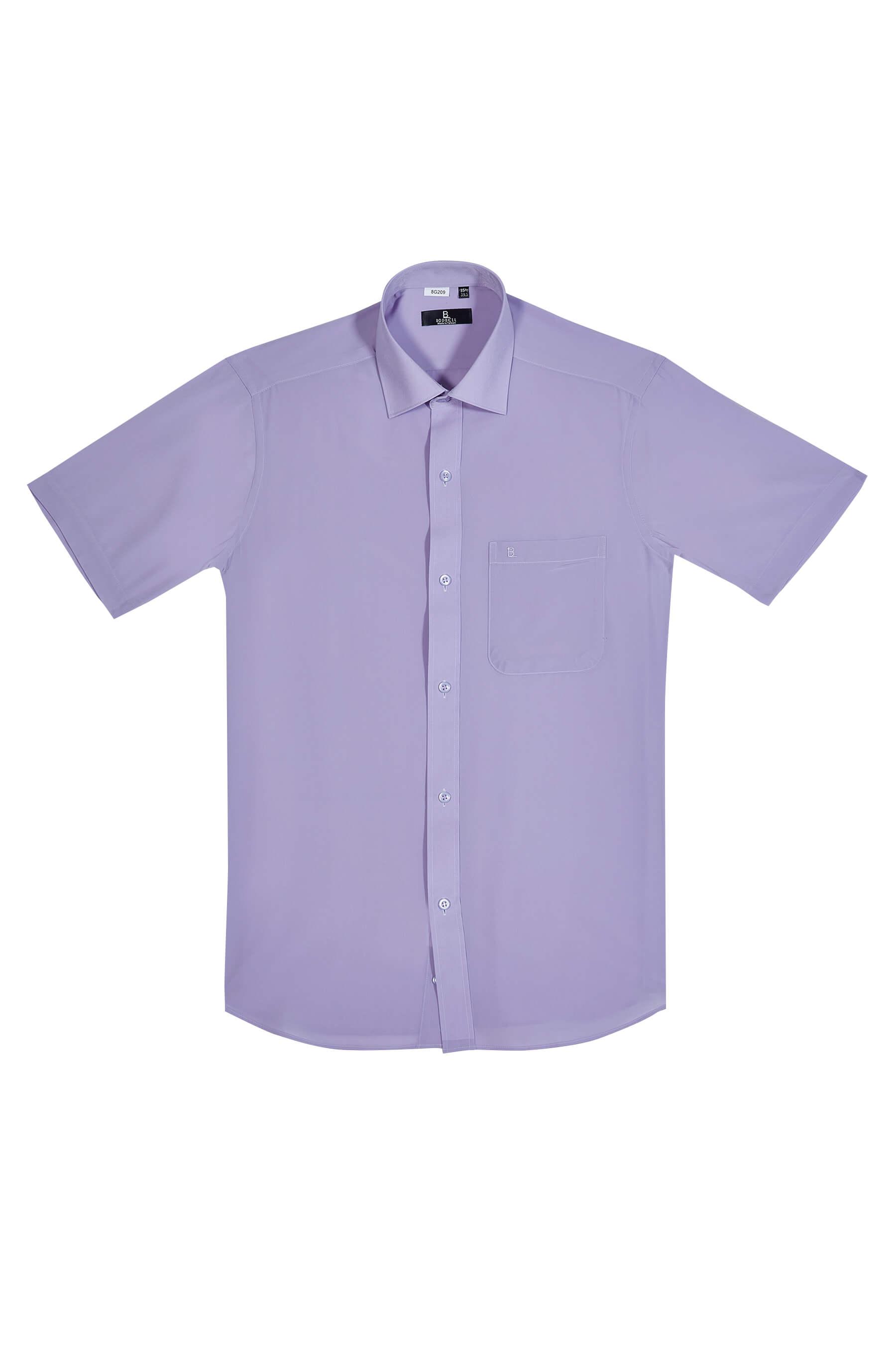 紫色素面短袖襯衫/抗皺 透氣