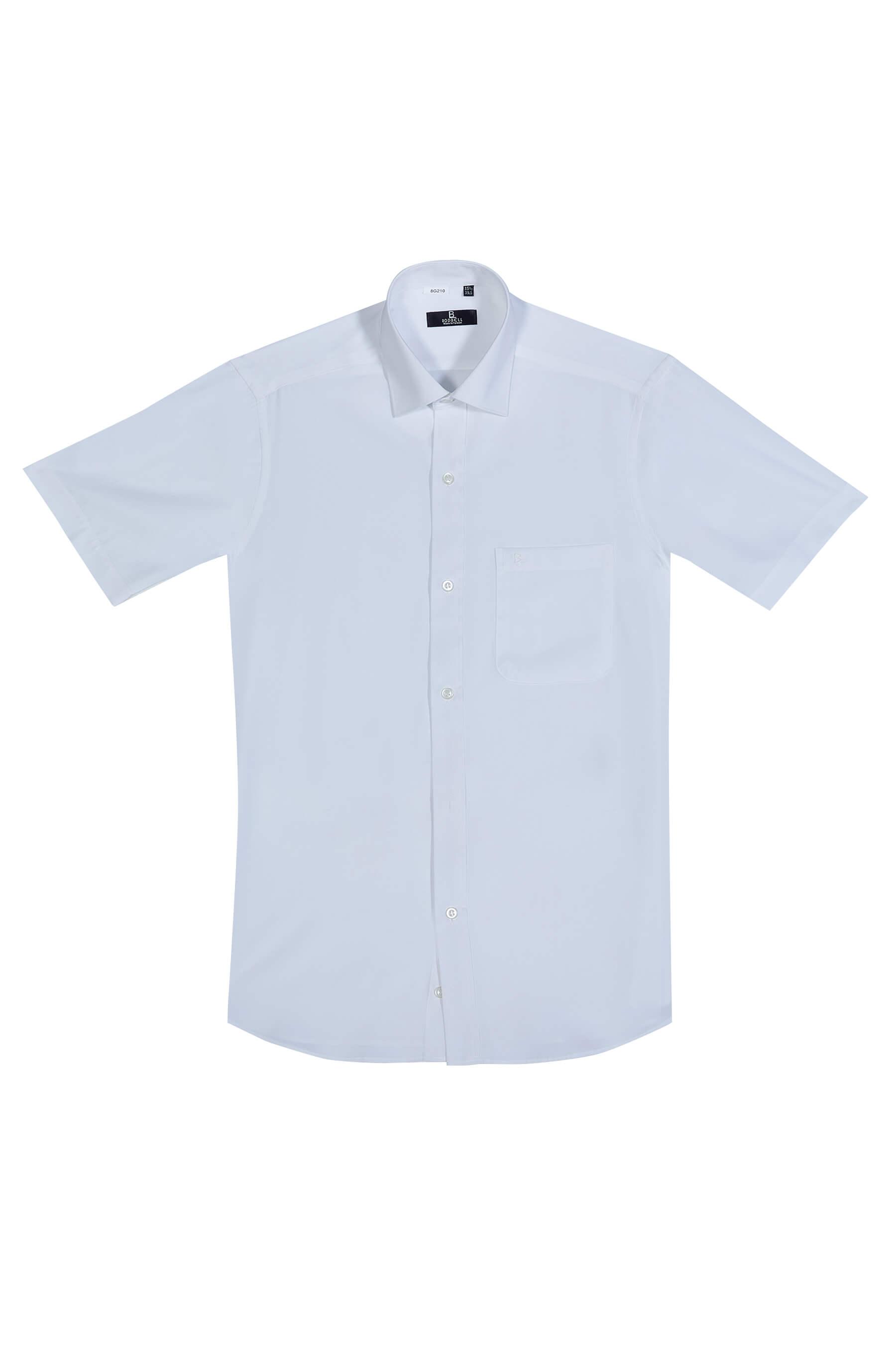 白色素面短袖襯衫/抗皺 透氣