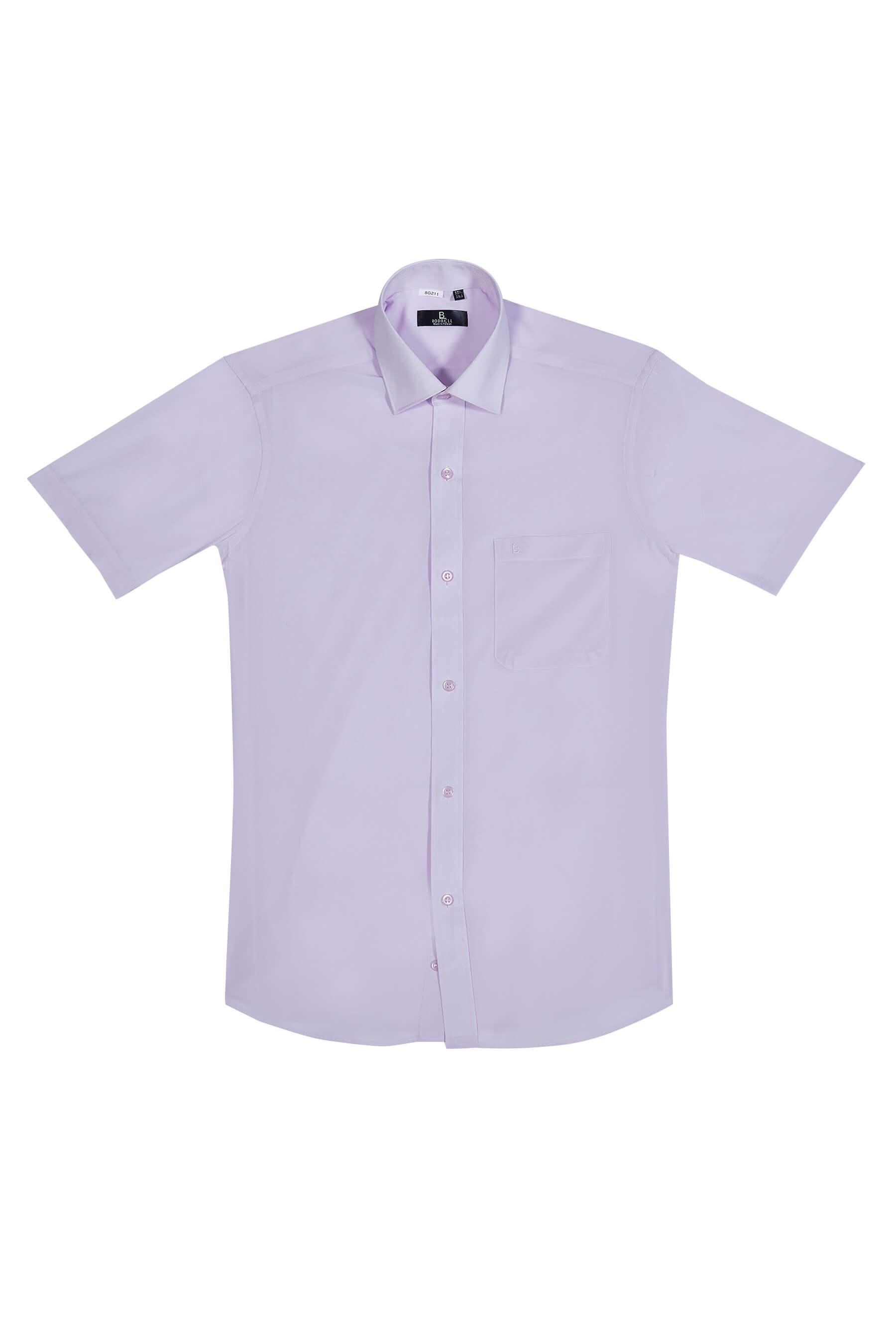 粉色素面短袖襯衫/抗皺 透氣