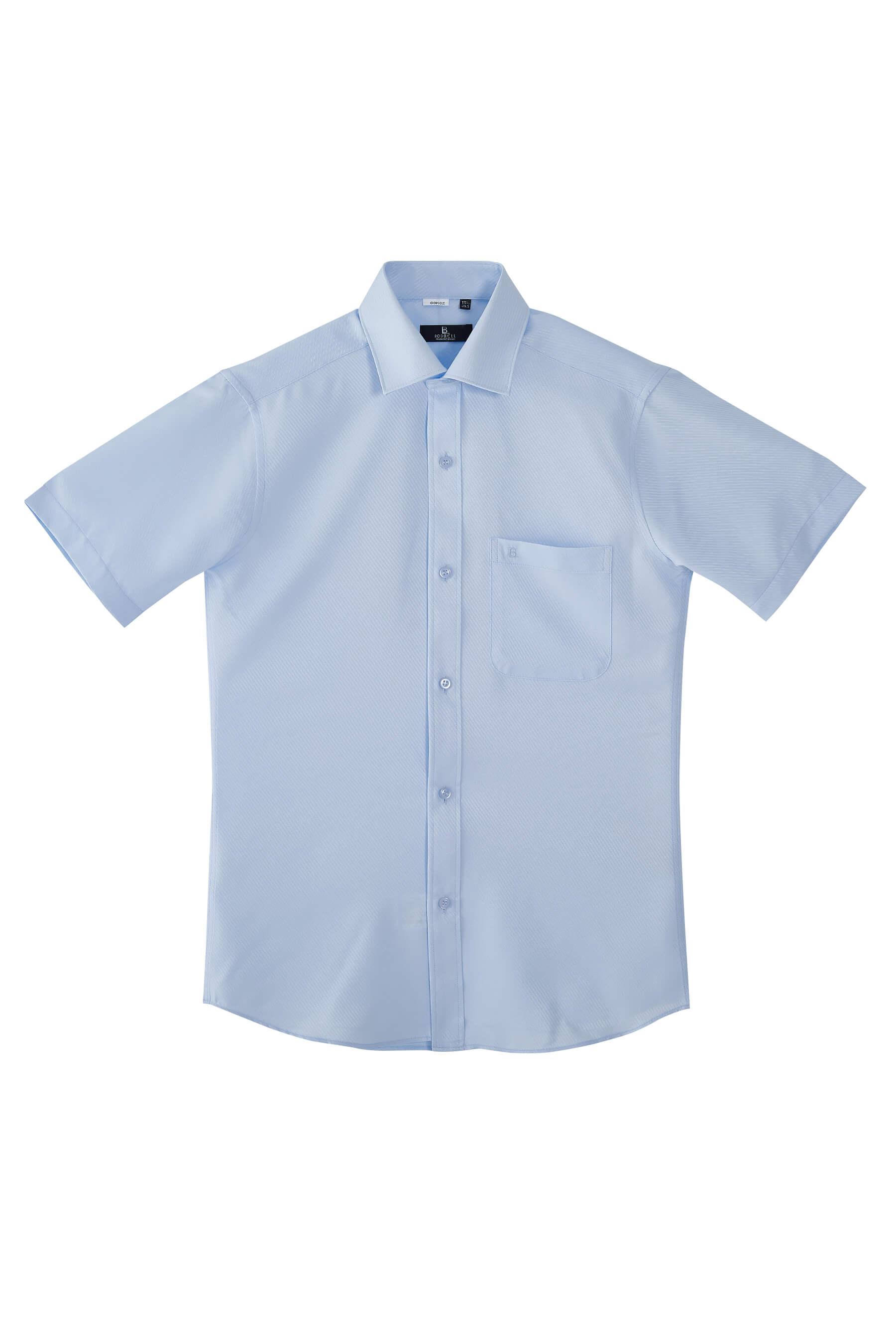 水藍色雙斜紋短袖襯衫/抗皺 吸濕排汗