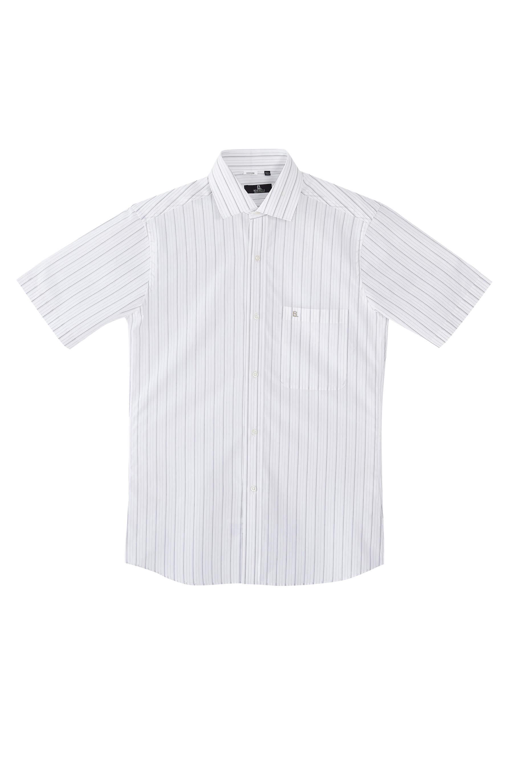 灰色條紋棉質短袖襯衫/舒適透氣