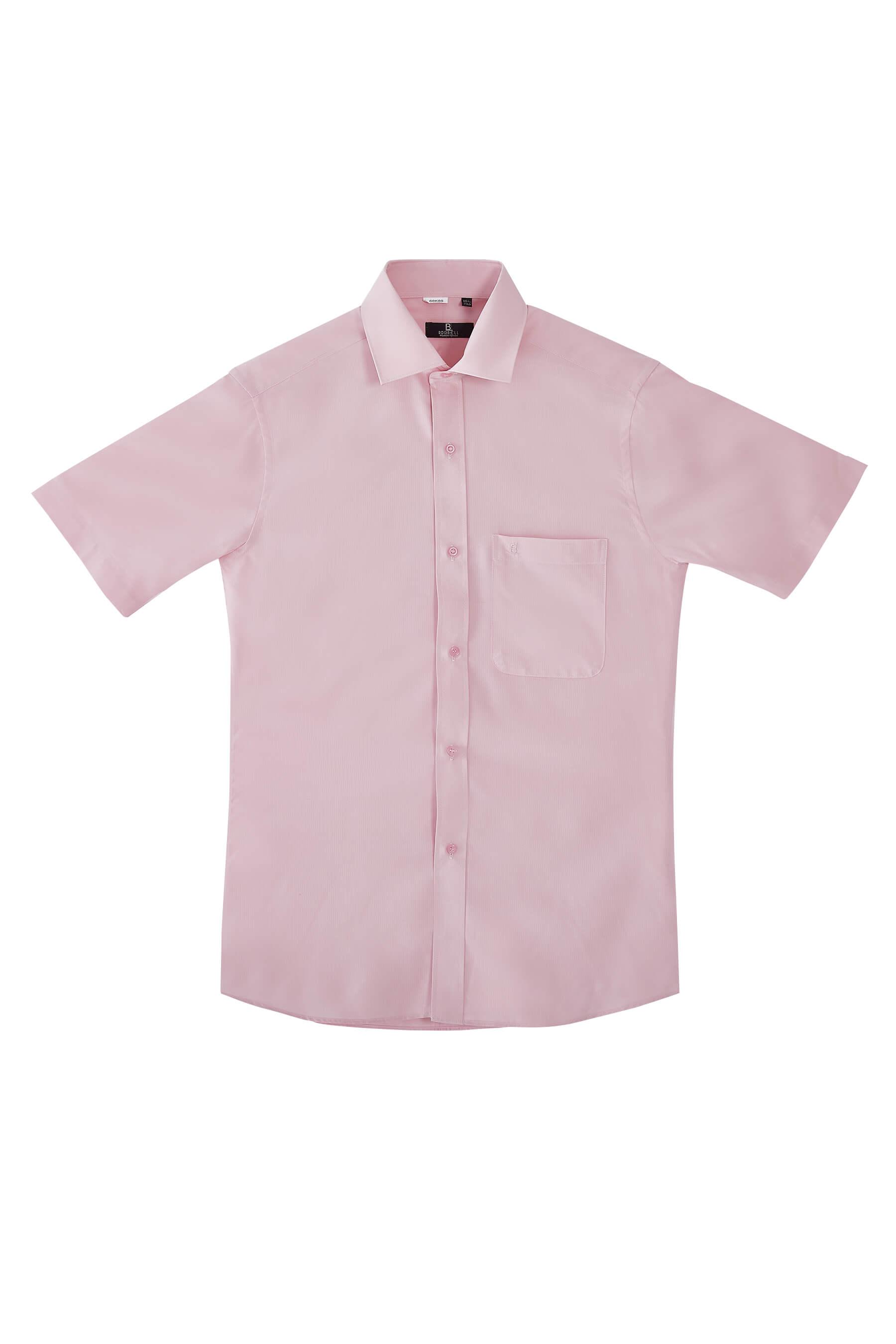 淺橘色緹花短袖襯衫/抗皺 吸濕排汗